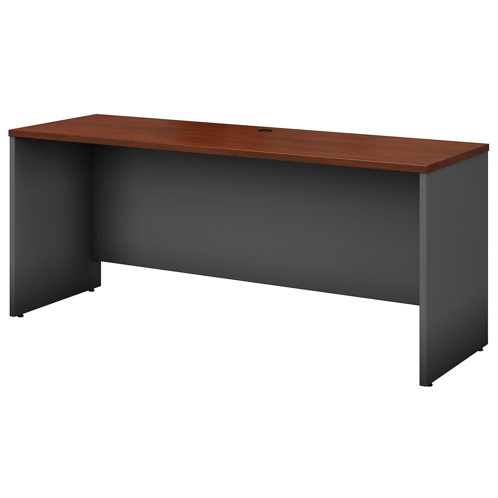 "Bush Business Furniture Components Credenza Desk 72""W x 24""D, Hansen Cherry/Graphite Gray, Premium Installation"