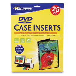 "Memorex® Inkjet/Laser DVD Case Inserts, 5 1/4"" x 7 1/4"", Pack Of 25"