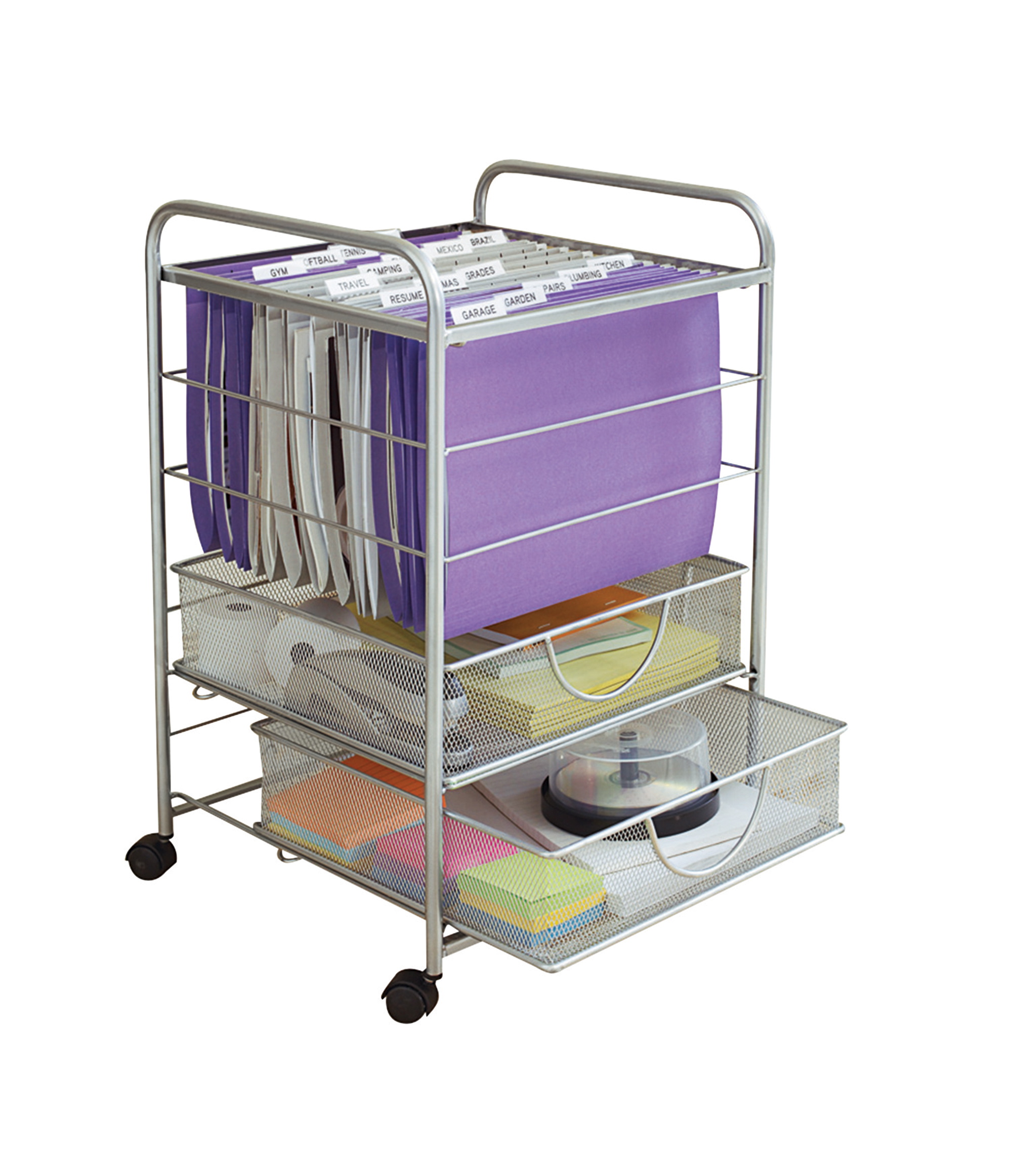 Neat Life Mesh Rolling File Cart with Drawers, Silver