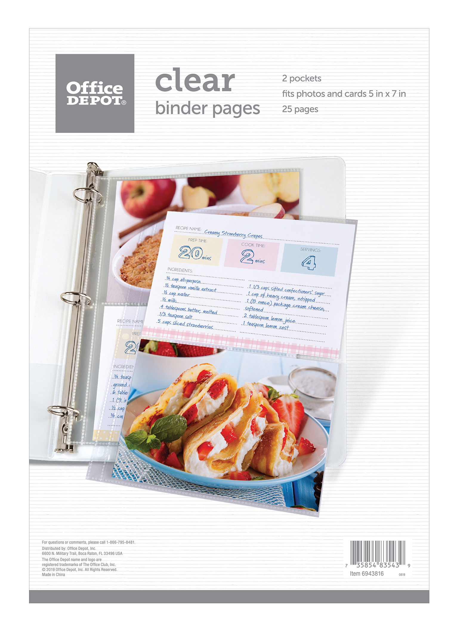 """Office Depot® 2-Pocket Standard Binder Pages, 5"""" x 7"""", Clear, Pack Of 25 Pages"""