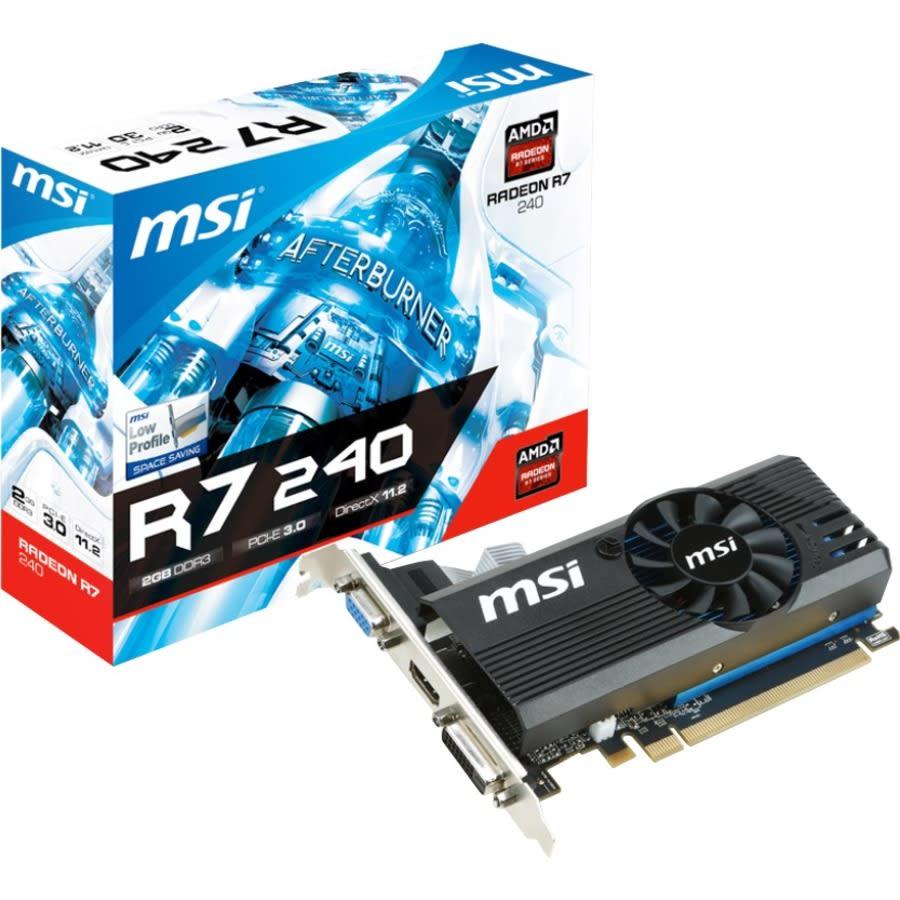 MSI R7 240 2GD3 LP Radeon R7 240 Graphic Card - 2 GB DDR3 SDRAM - Low-profile - 730 MHz Core - 128 bit Bus Width - HDMI - VGA - DVI