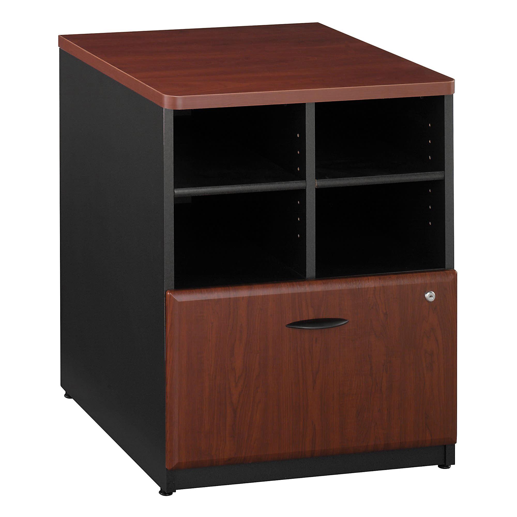 """Bush Business Furniture Office Advantage Storage Cabinet, 24""""W, Hansen Cherry/Galaxy, Premium Installation"""