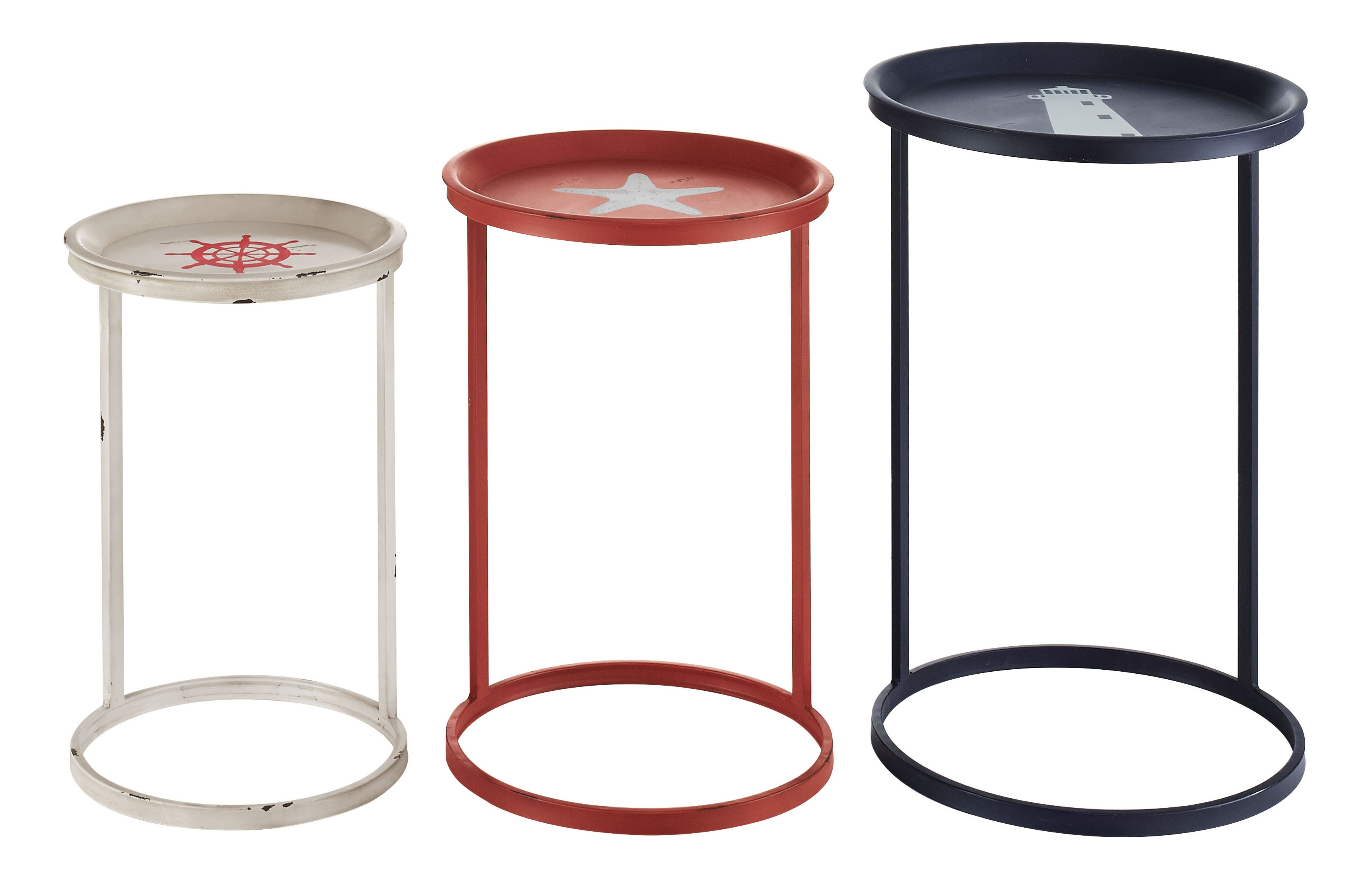 """Linon Home Decor Products Alan Nautical Tables, 23-3/4""""H x 16""""W x 16""""D, Red/White/Blue, Set Of 3 Tables"""