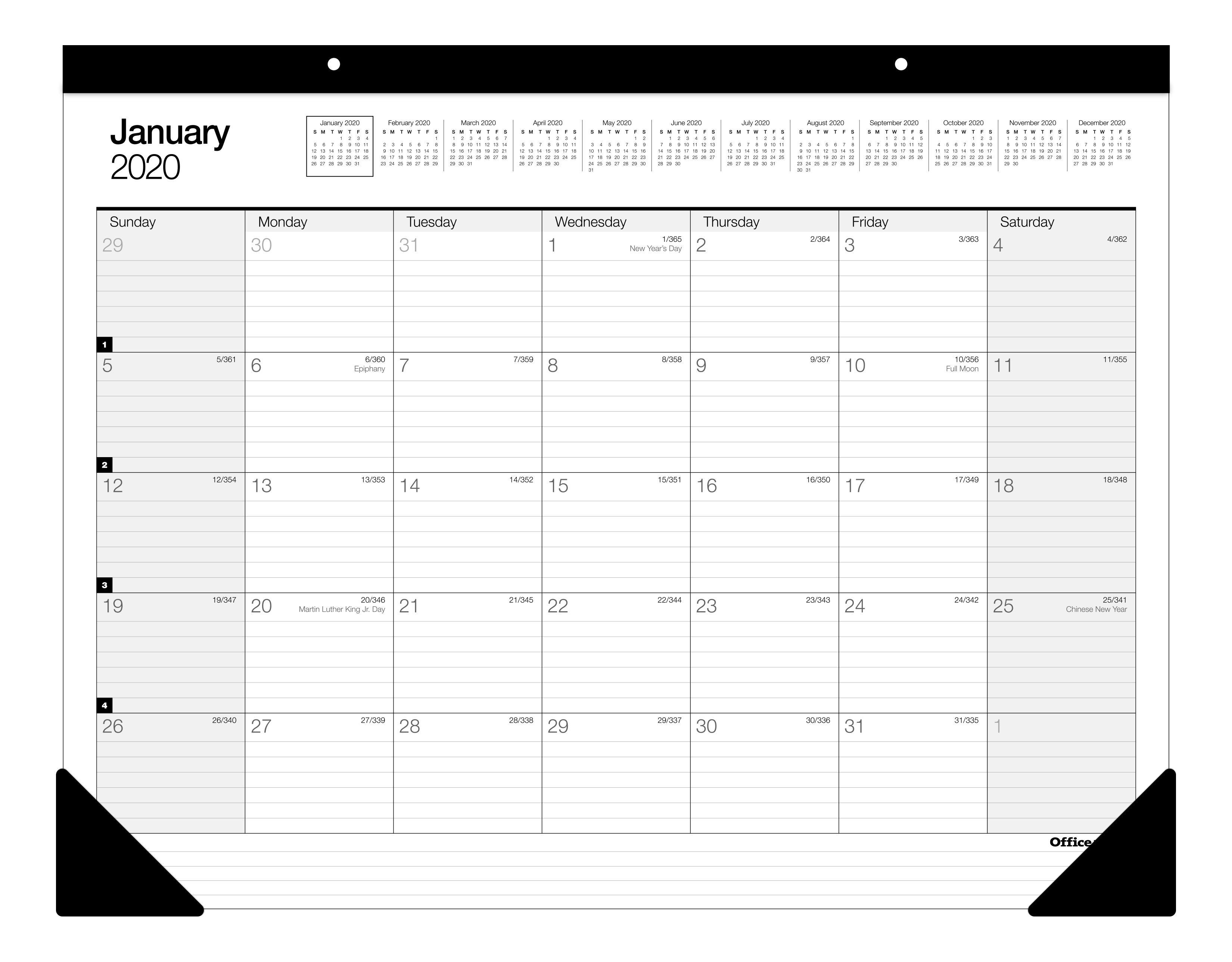 "Office Depot® Brand Monthly Desk Pad Calendar, 22"" x 17"", White, January To December 2020, SP24D00"
