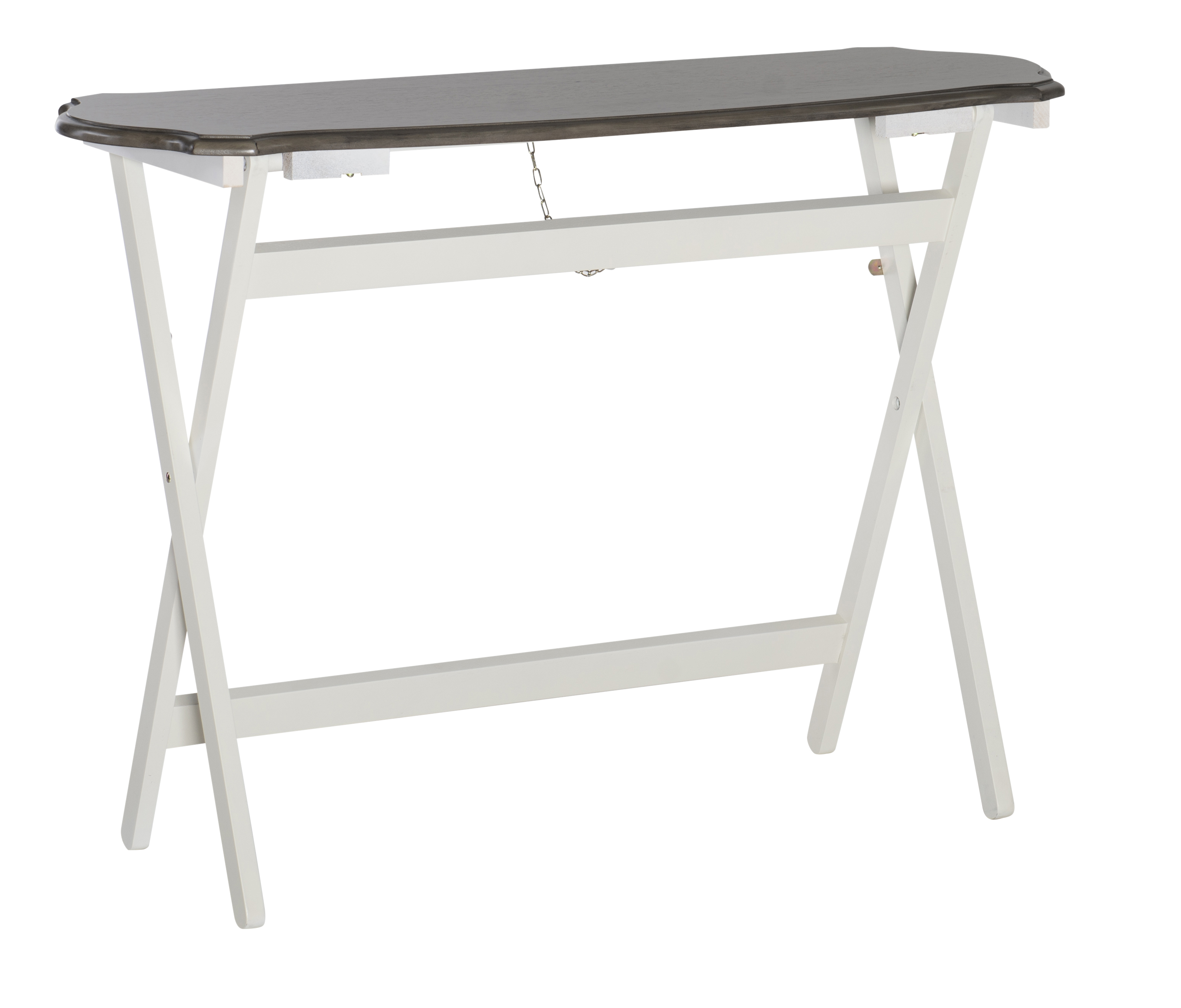 "Powell Laverne Folding Buffet Table, 29-15/16""H x 42-1/8""W x 15-3/4""D, White/Gray/Brown"