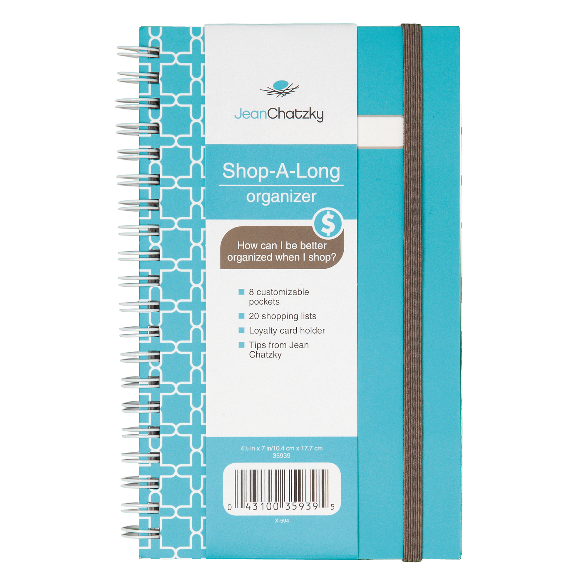 "Mead® Jean Chatzky Shop-A-Long Organizer, 4 1/4"" x 7"", Teal/White"