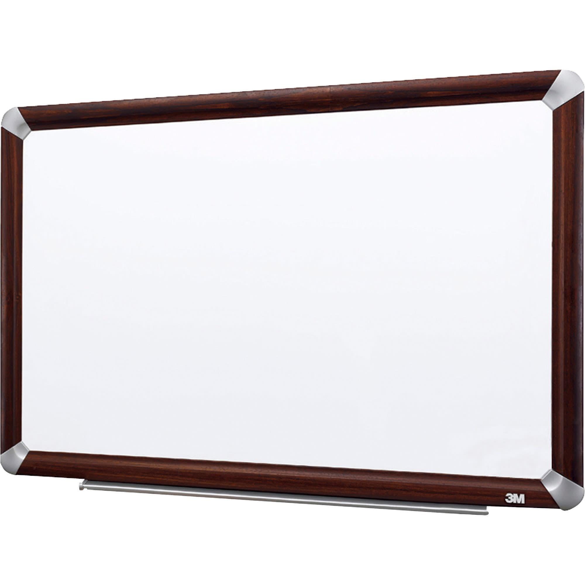 """3M™ Melamine Dry-Erase Board With Elegant-Style Aluminum Frame, Mahogany Finish, 72"""" x 48"""""""