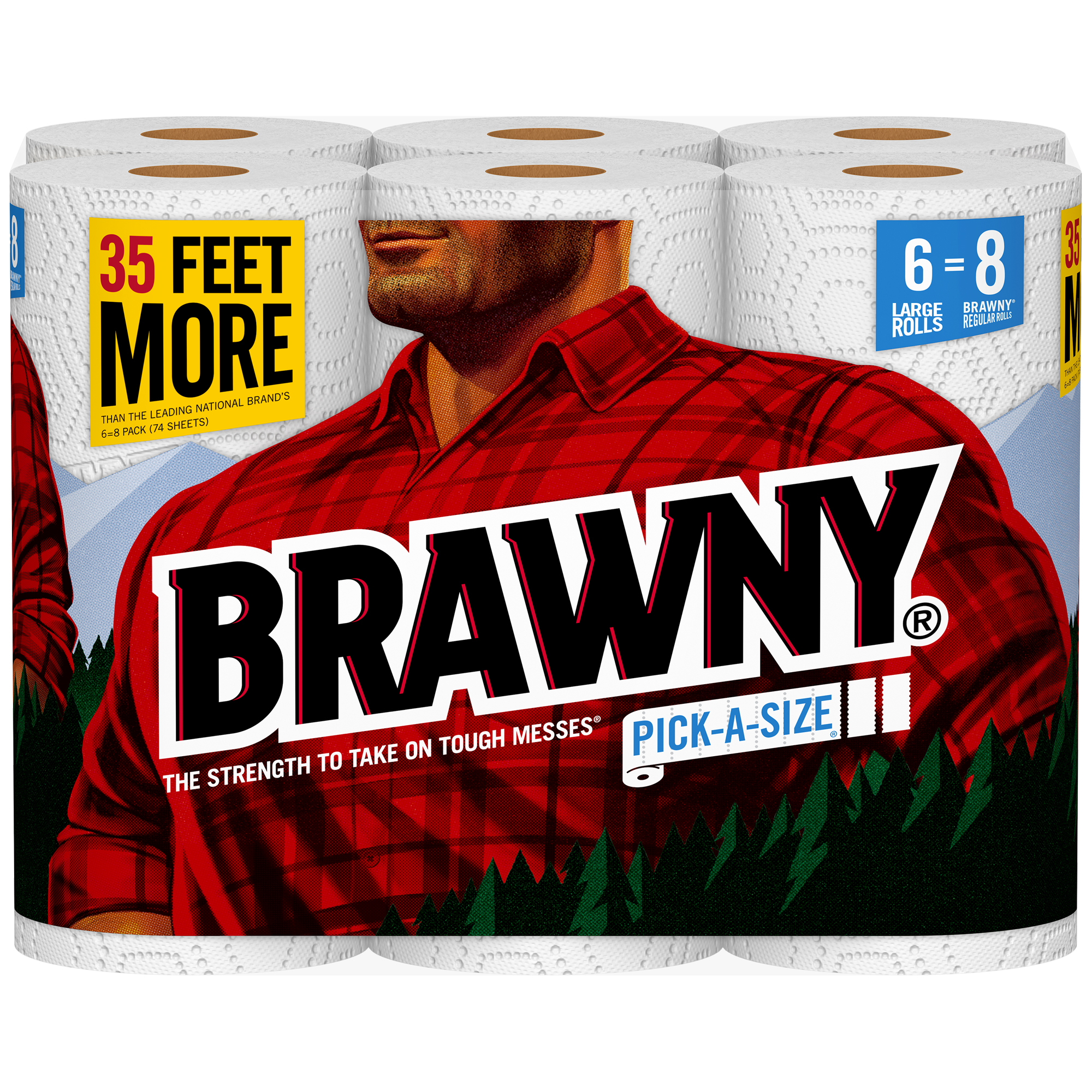 "Brawny® Pick-A-Size® 2-Ply Paper Towels, 5 9/10"" x 11"", White, 87 Sheets Per Roll, Pack Of 6 Rolls"