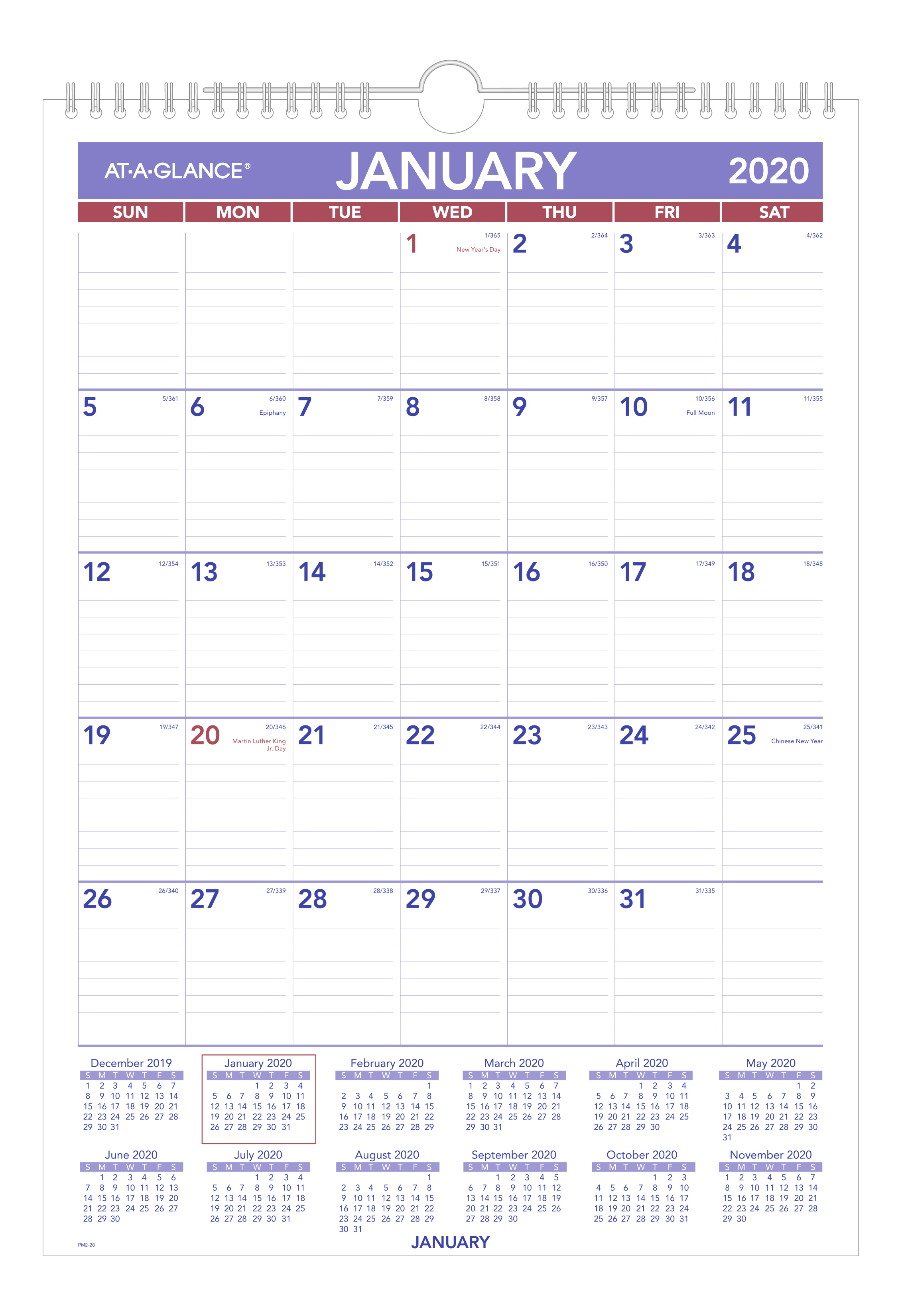 "AT-A-GLANCE® Monthly Wirebound Wall Calendar, 12"" x 17"", Blue/Red, January To December 2020, PM228"
