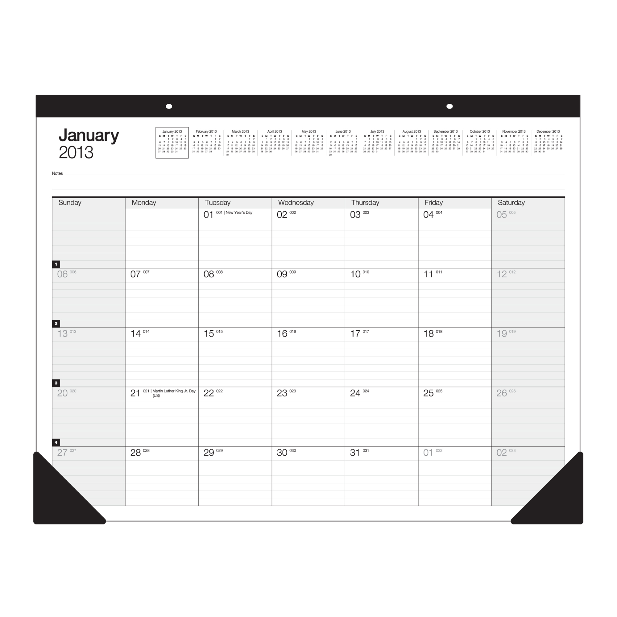 "Office Depot® Brand 30% Recycled Desk Pad Calendar, 22"" x 17"", January-December 2013"