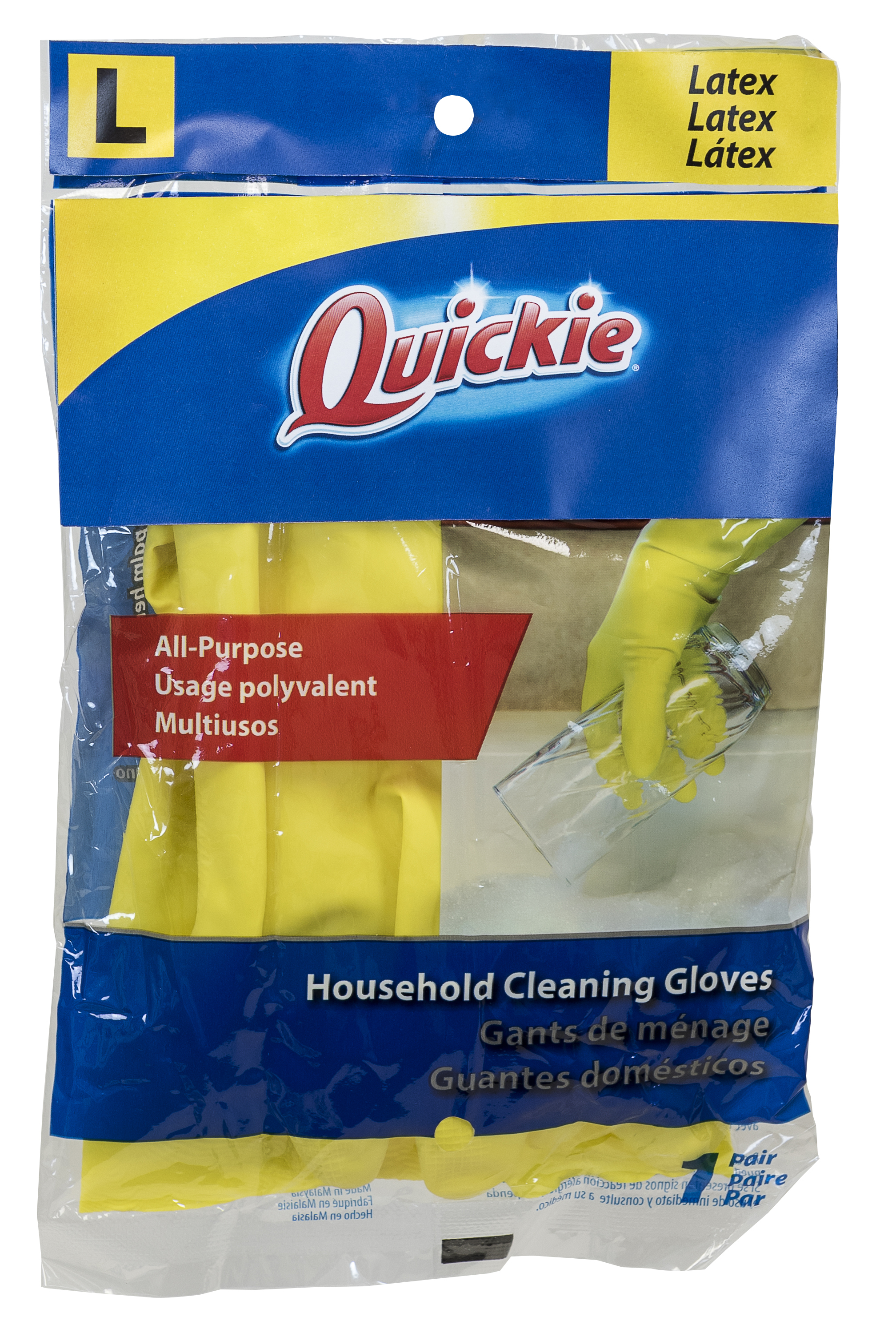 Quickie Lined Latex Gloves, Large, Yellow