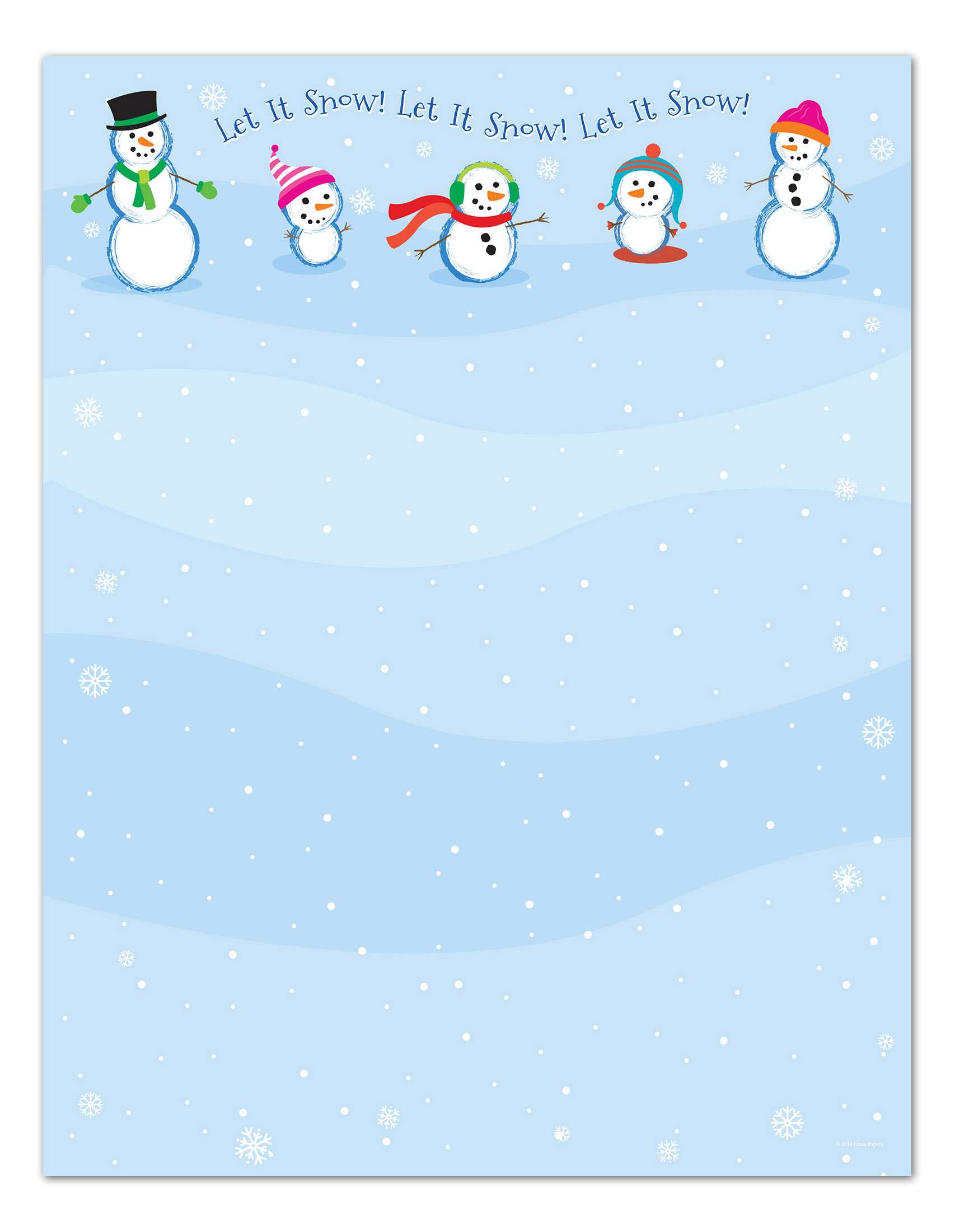 "Great Papers!® Holiday Stationery, 8 1/2"" x 11"", Let It Snowmen, Pack Of 80 Sheets"
