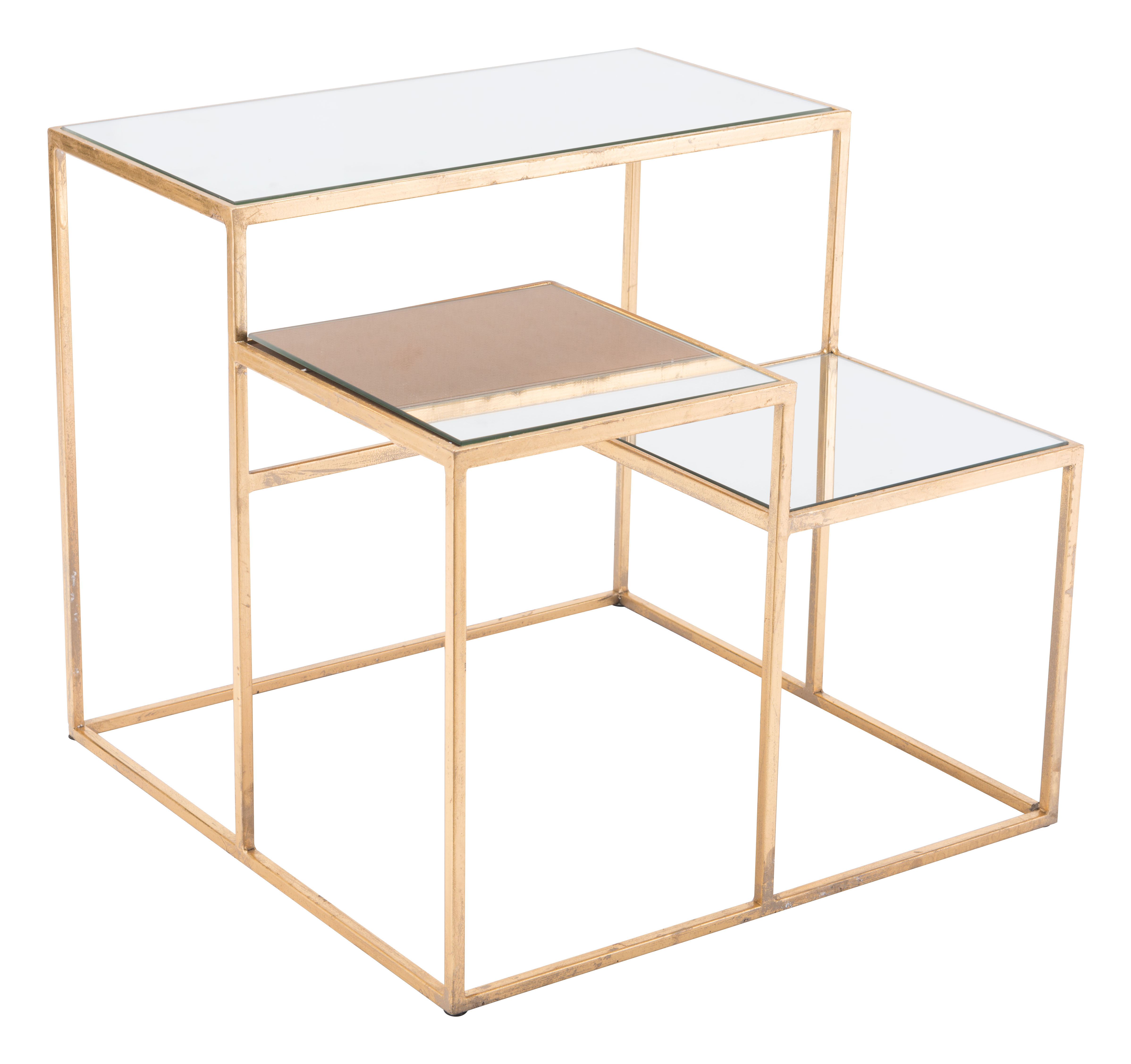 Zuo Modern Labels End Table, Square, Mirror/Gold