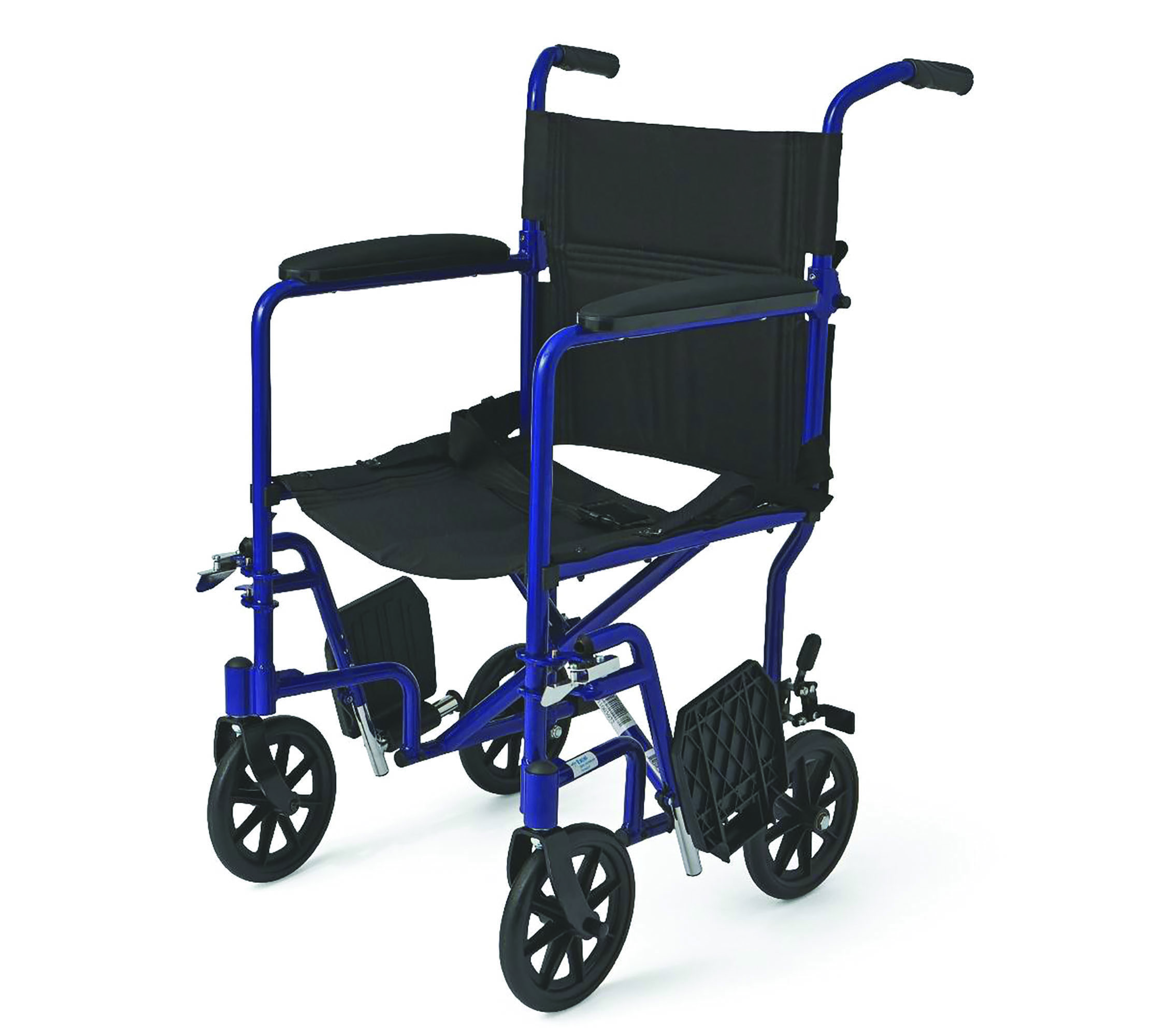 "Medline Aluminum Transport Chair, 8"" Wheels, Blue"
