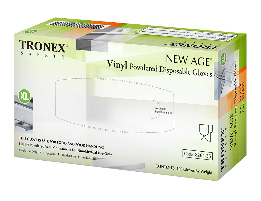 Tronex New Age Disposable Powdered Vinyl Gloves, X-Large, Natural, Pack Of 100