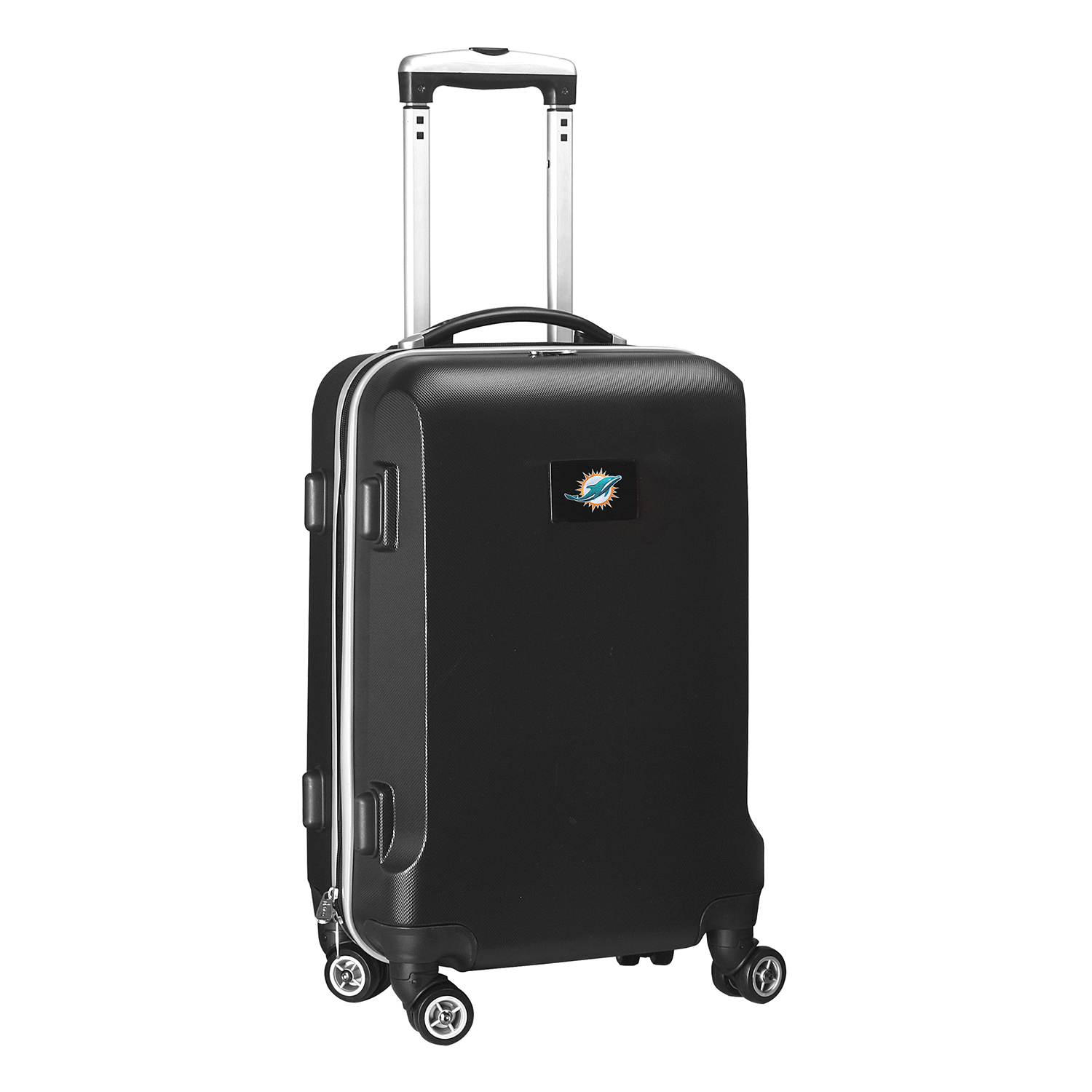 """Denco 2-In-1 Hard Case Rolling Carry-On Luggage, 21""""H x 13""""W x 9""""D, Miami Dolphins, Black"""