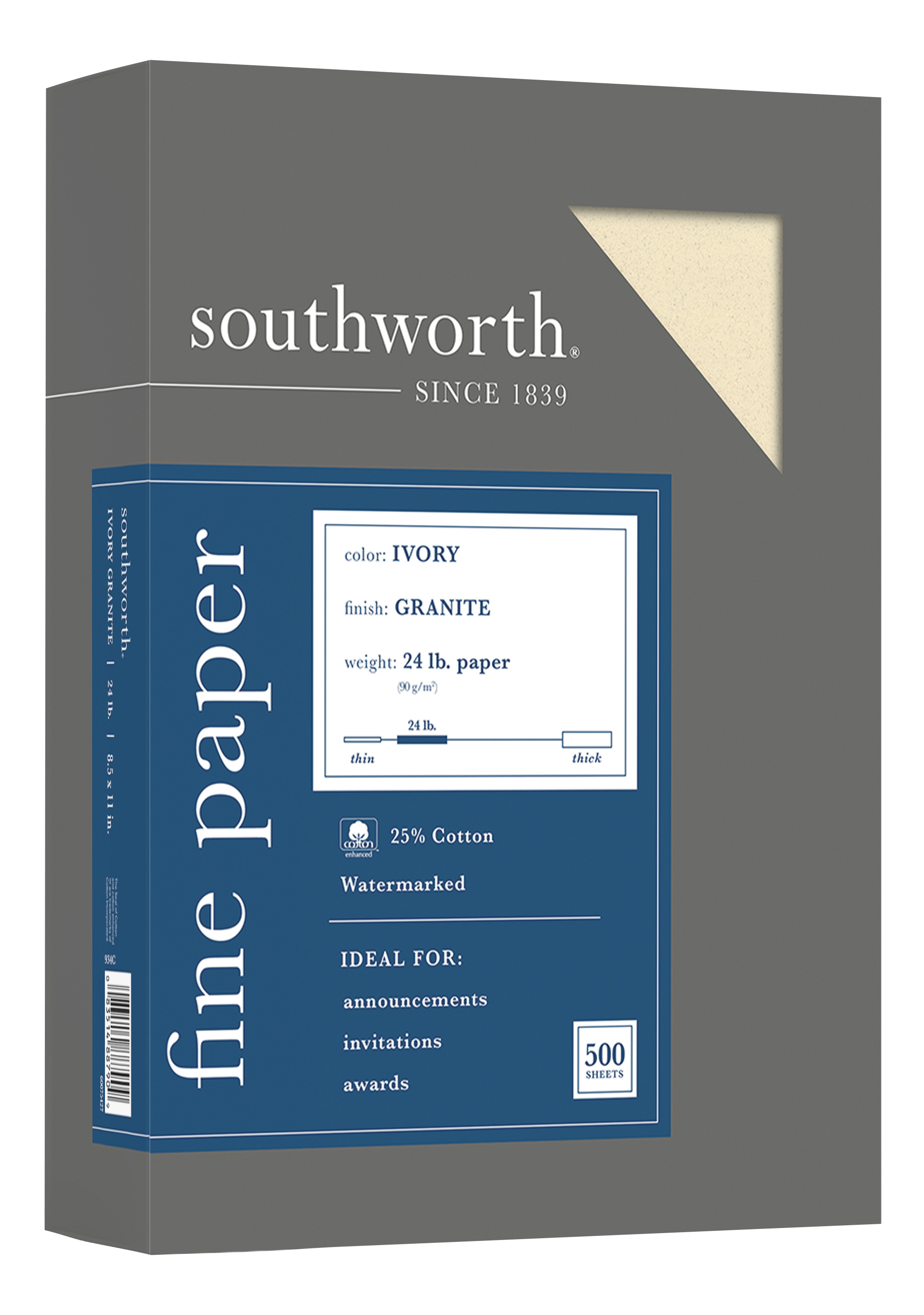 """Southworth® 75% Recycled 25% Cotton Granite Specialty Paper, 8 1/2"""" x 11"""", 24 Lb, Ivory, Pack Of 500"""