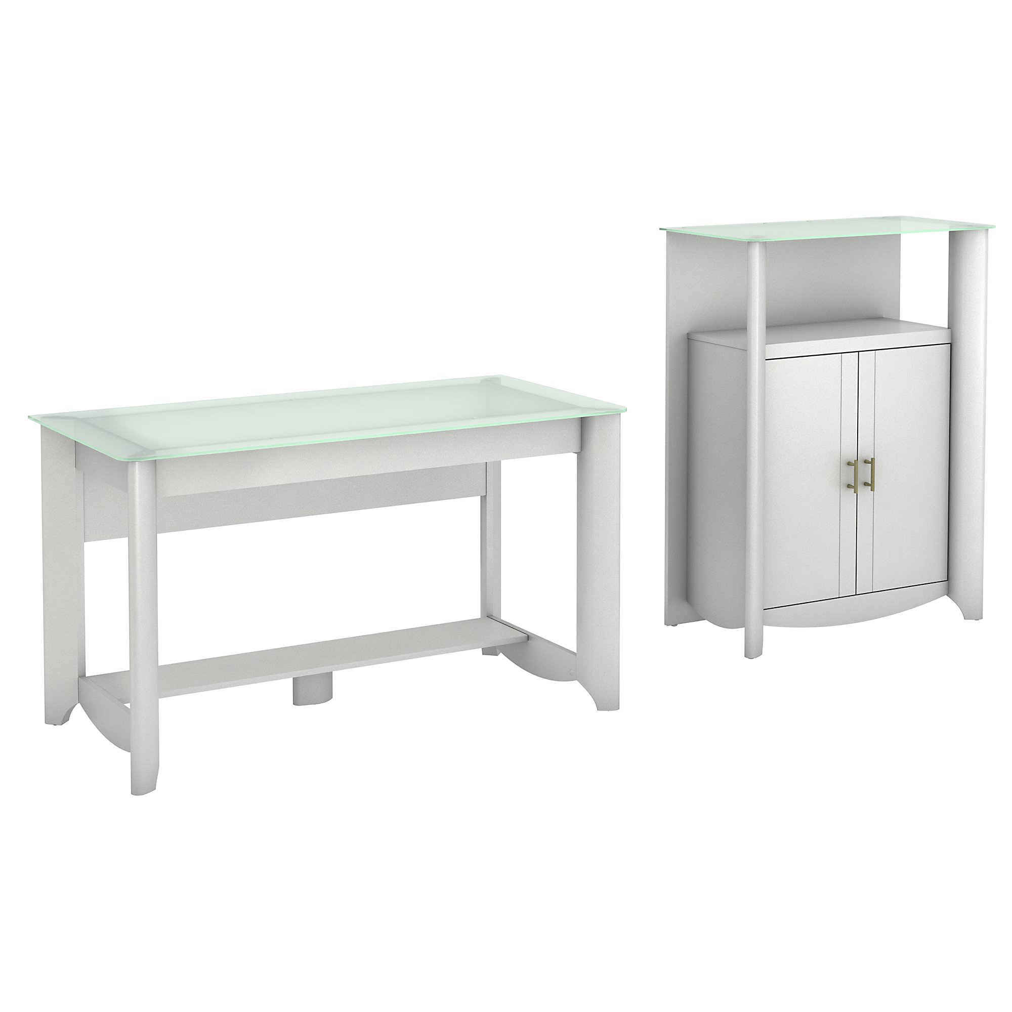 Bush Furniture Aero Writing Desk And Library Storage Cabinet With Doors, Pure White, Standard Delivery