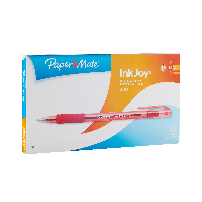 Paper Mate® InkJoy™ 300 Stick Pens, Medium Point, 1.0 mm, Translucent Barrels, Red Ink, Pack Of 12 Pens