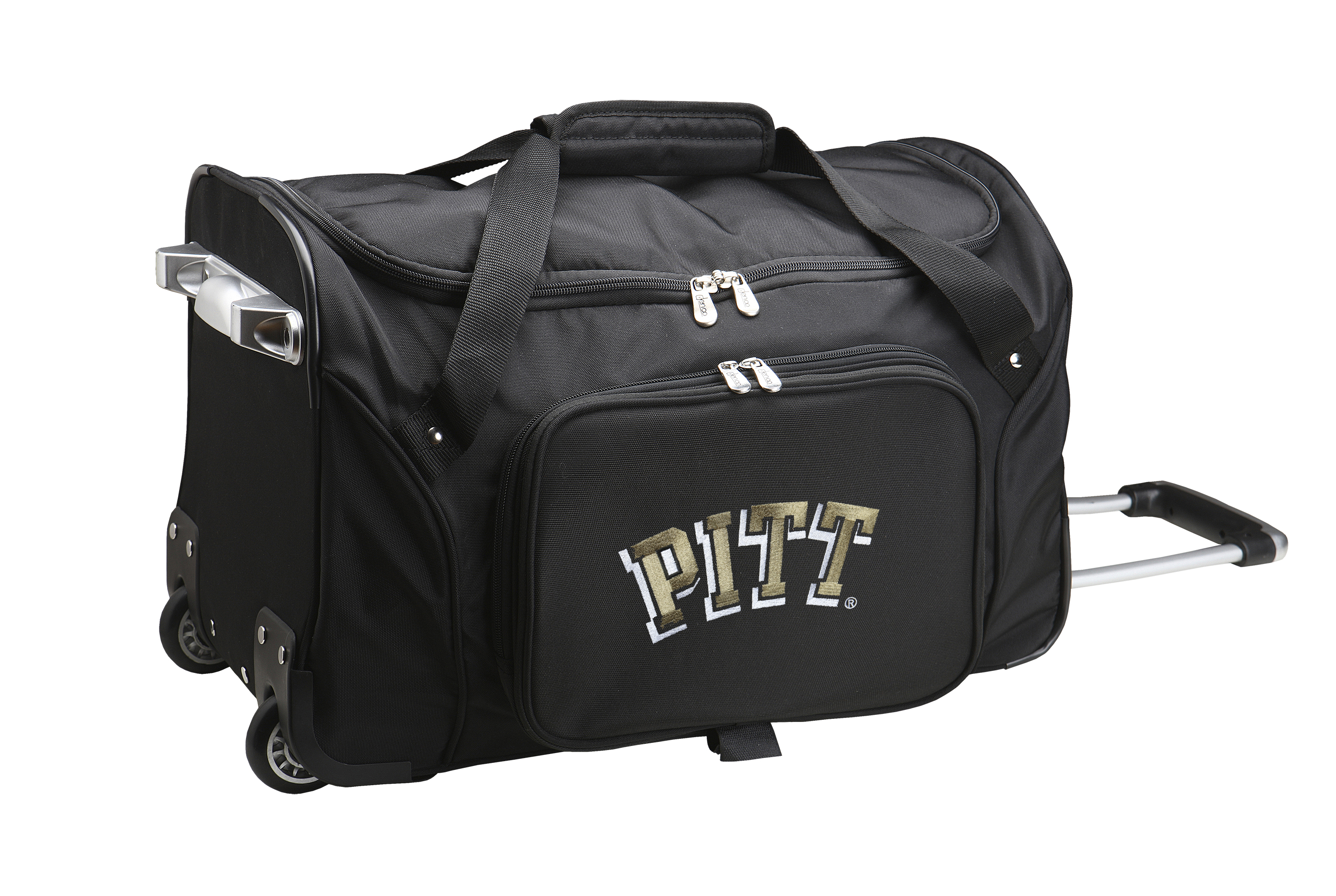 Denco Sports Luggage Rolling Duffel Bag, Pittsburgh Panthers, Black