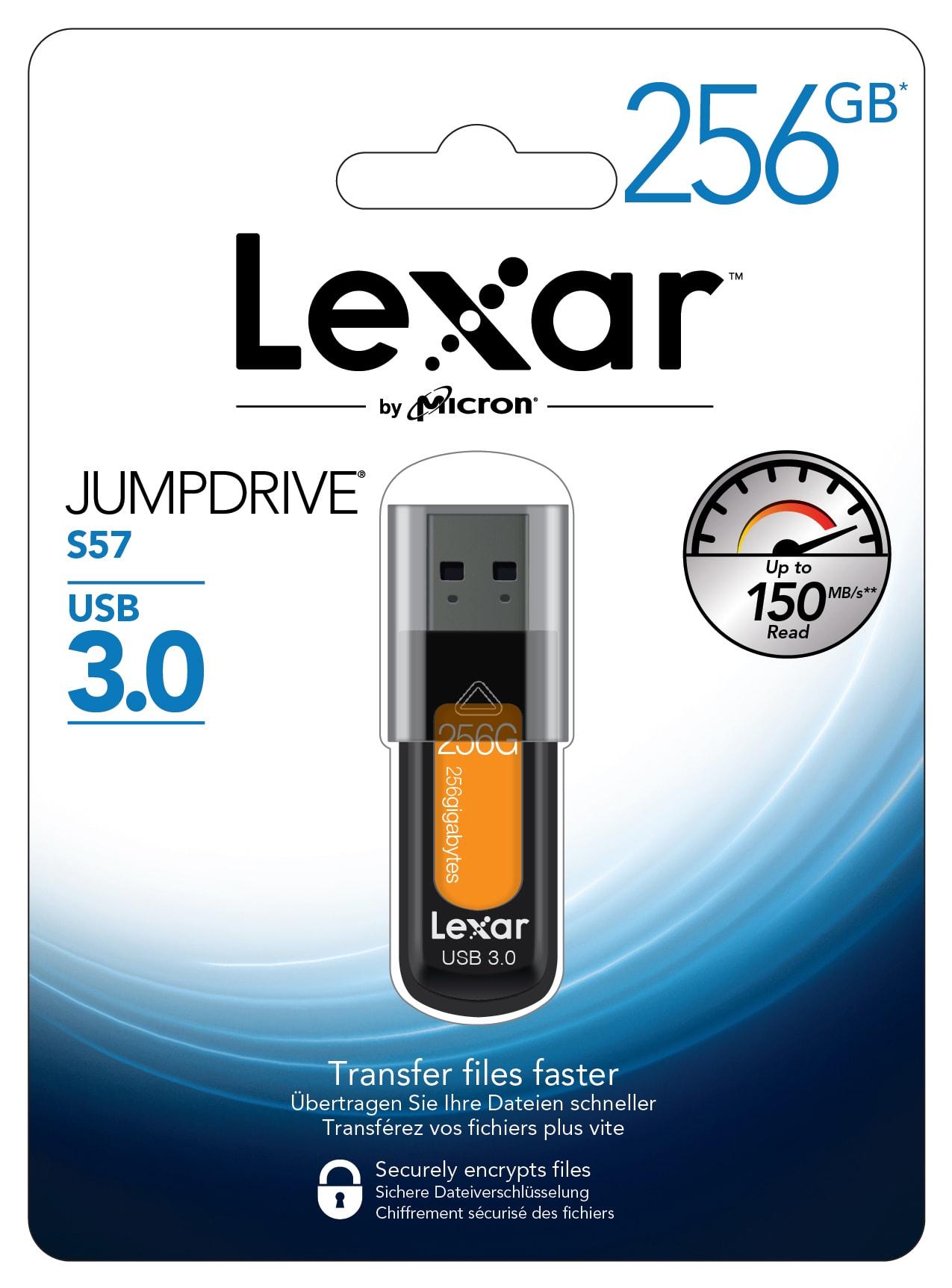 Lexar® JumpDrive® S57 USB 3.0 Flash Drive, 256GB, Orange, LJDS57256AB