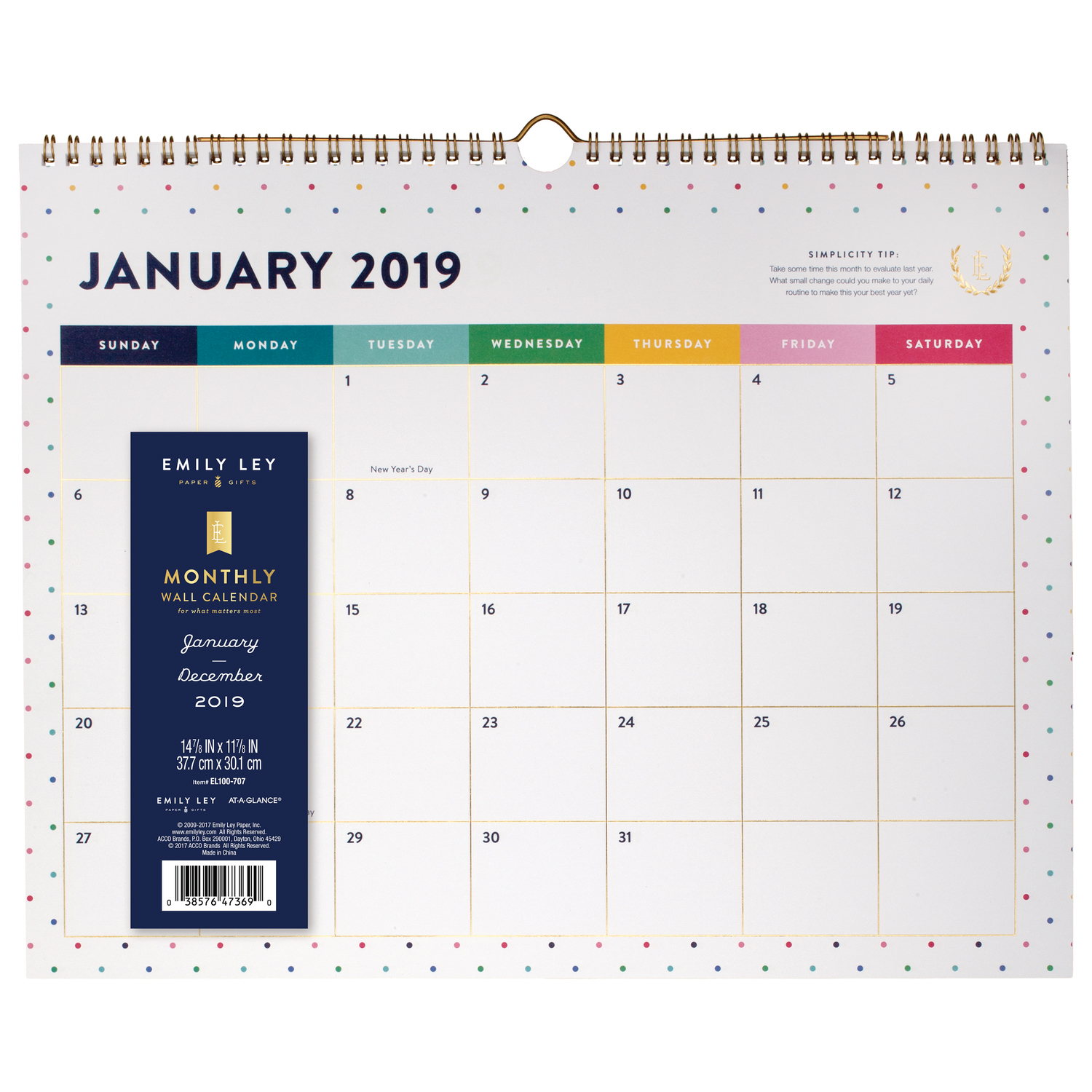"""Emily Ley Monthly Wall Calendar, 14 7/8"""" x 11 7/8"""", Happy Dot, January to December 2019"""