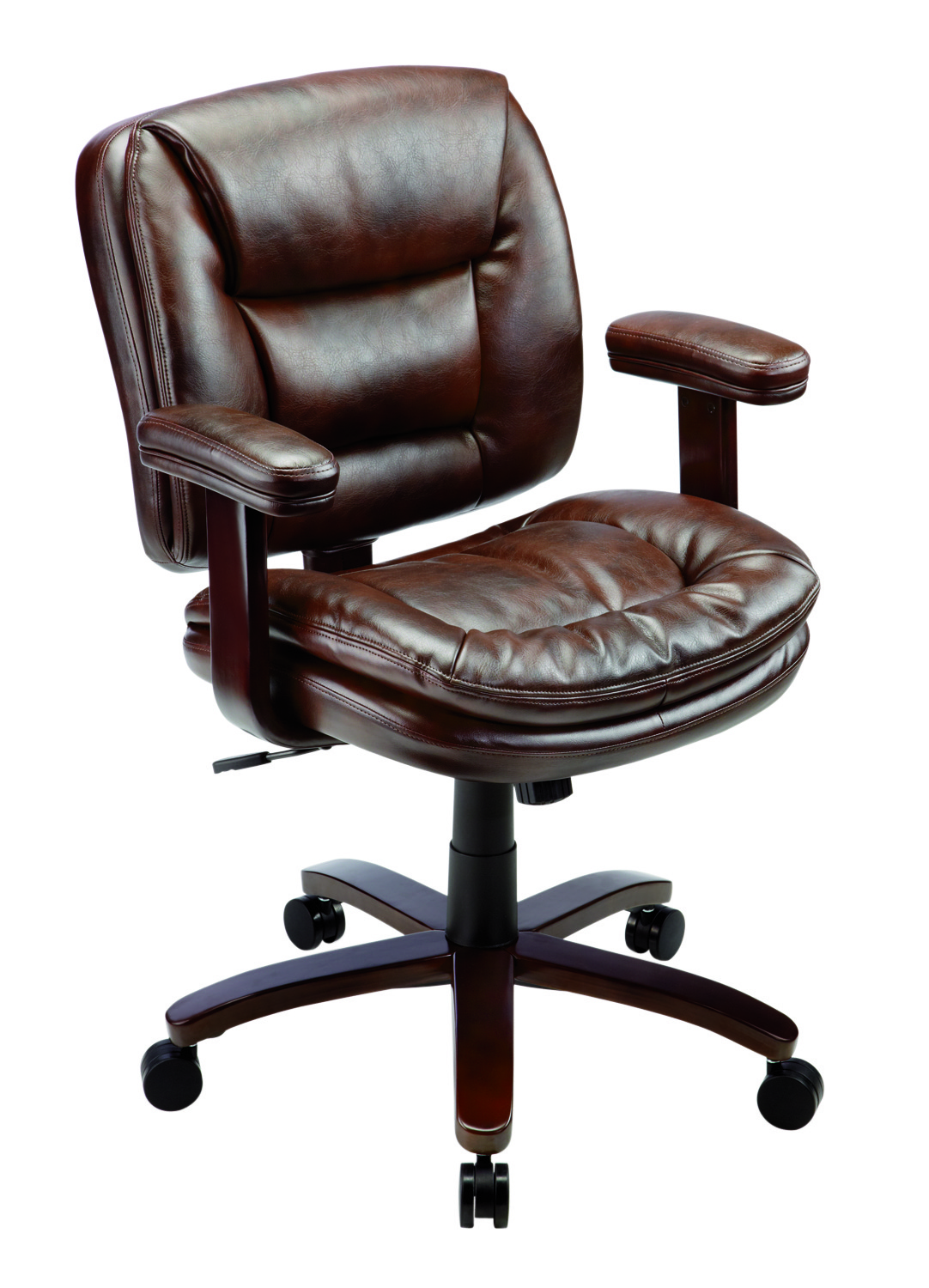 Realspace® Elmhart Low-Back Bonded Leather Task Chair, Cherry/Espresso