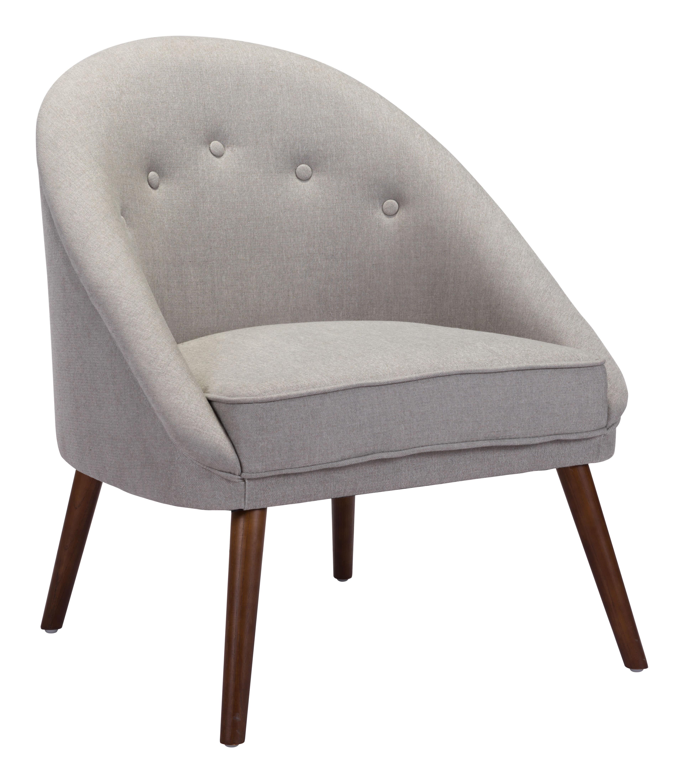 Zuo® Modern Carter Occasional Chair, Light Gray/Walnut