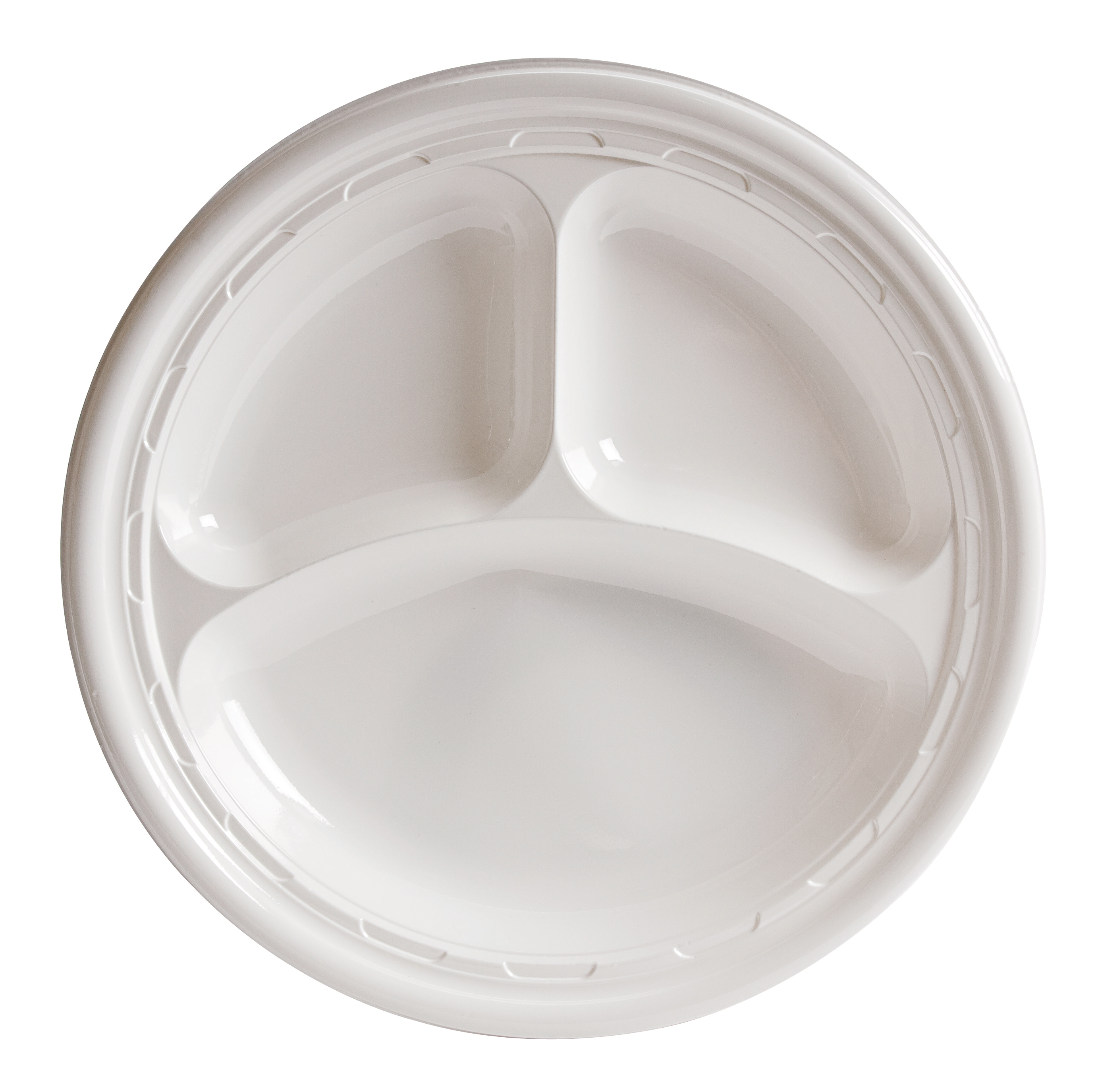 "Dart 3-sect Disposable Plastic Dinnerware Plate - 10"" Diameter Dinner Plate - Plastic - Disposable - White - 500 Piece(s) / Carton"