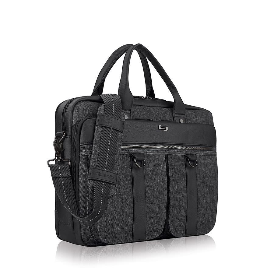 "Solo Mercer Briefcase For 15.6"" Laptops, Black/Gray"