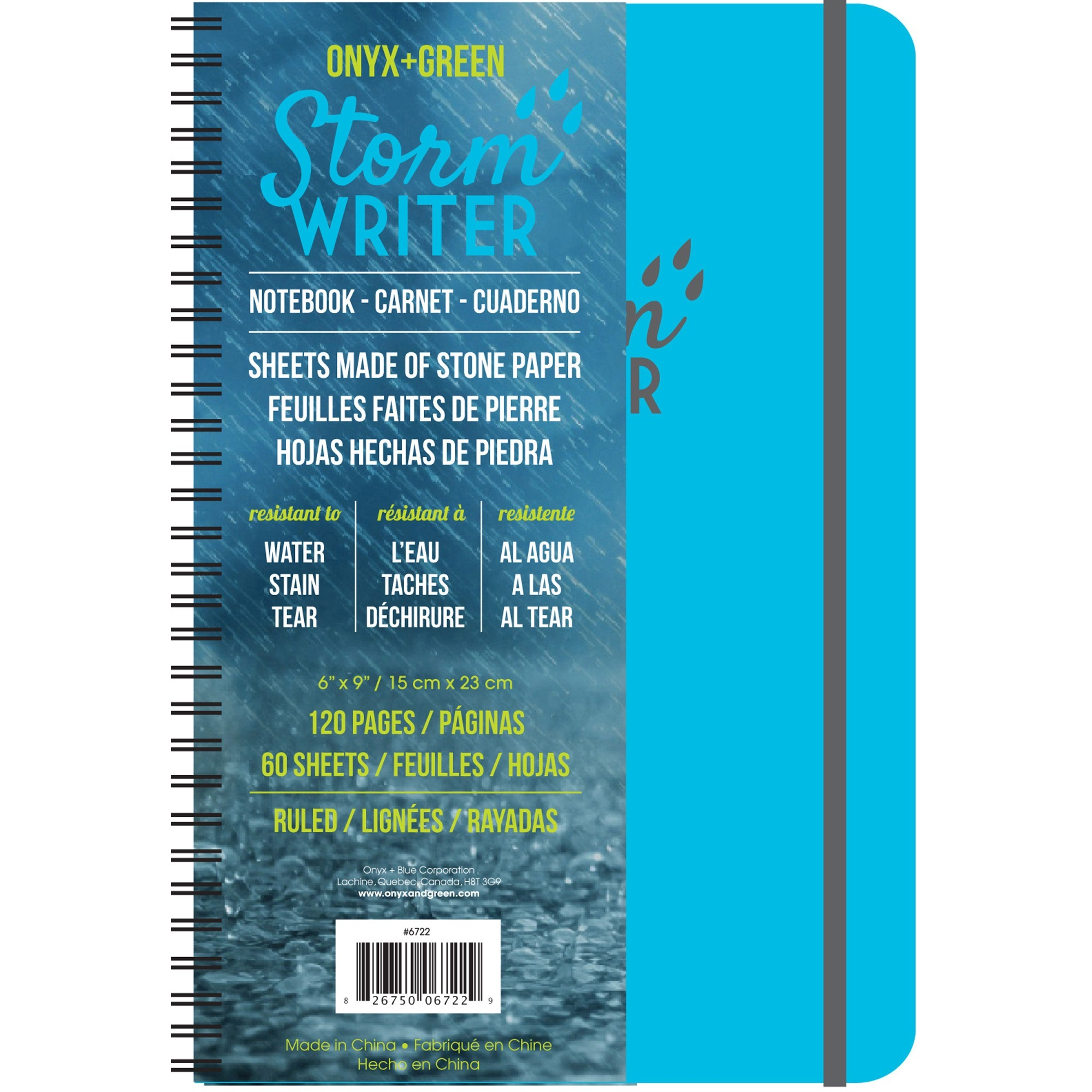 """Roaring Spring Storm Writer Notebook - Twin Wirebound6""""7"""" - Water Resistant, Stain Resistant - 1Each"""