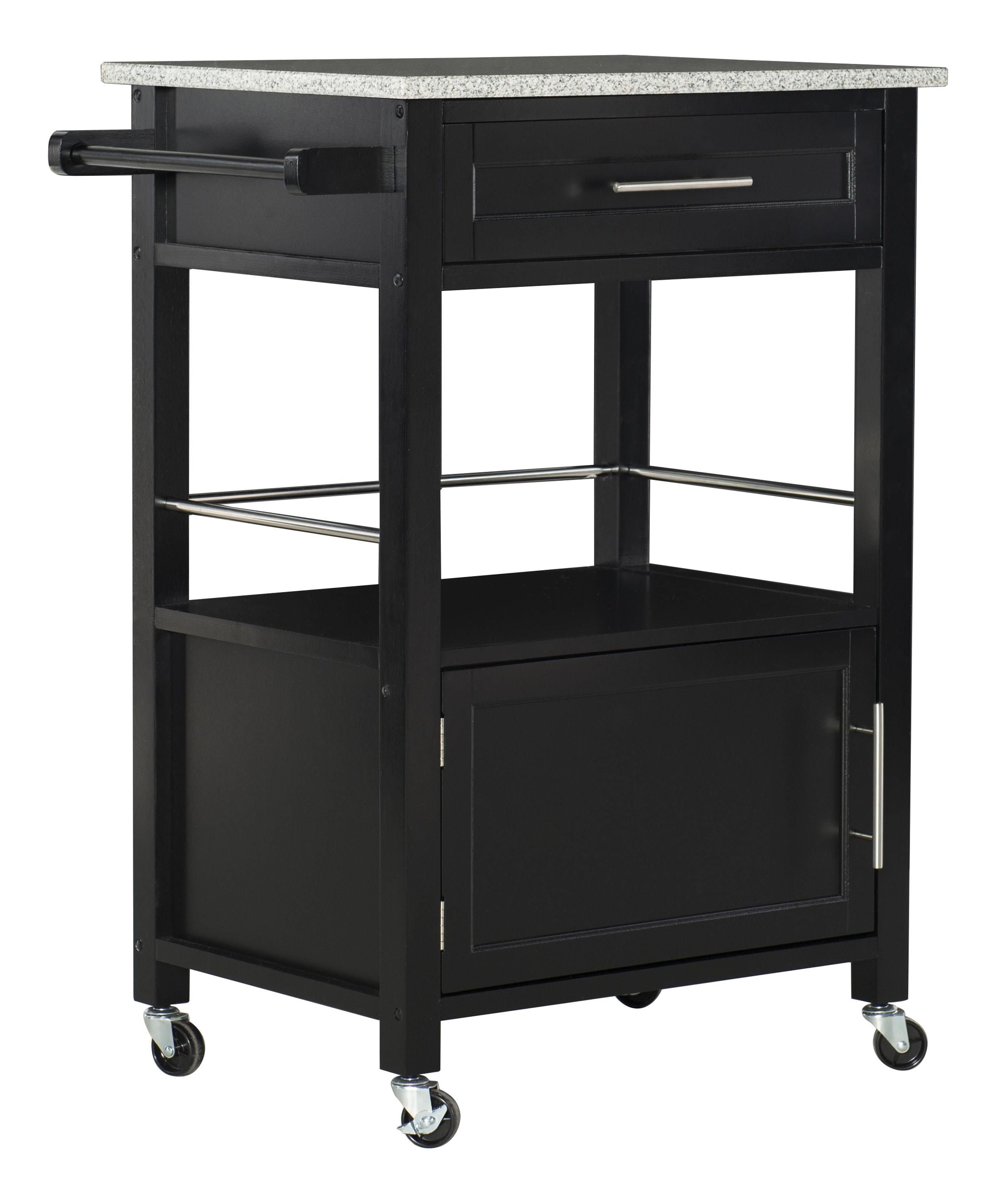 "Linon Clark Granite-Top Kitchen Cart, 36""H x 27-1/4""W x 18""D, Black"