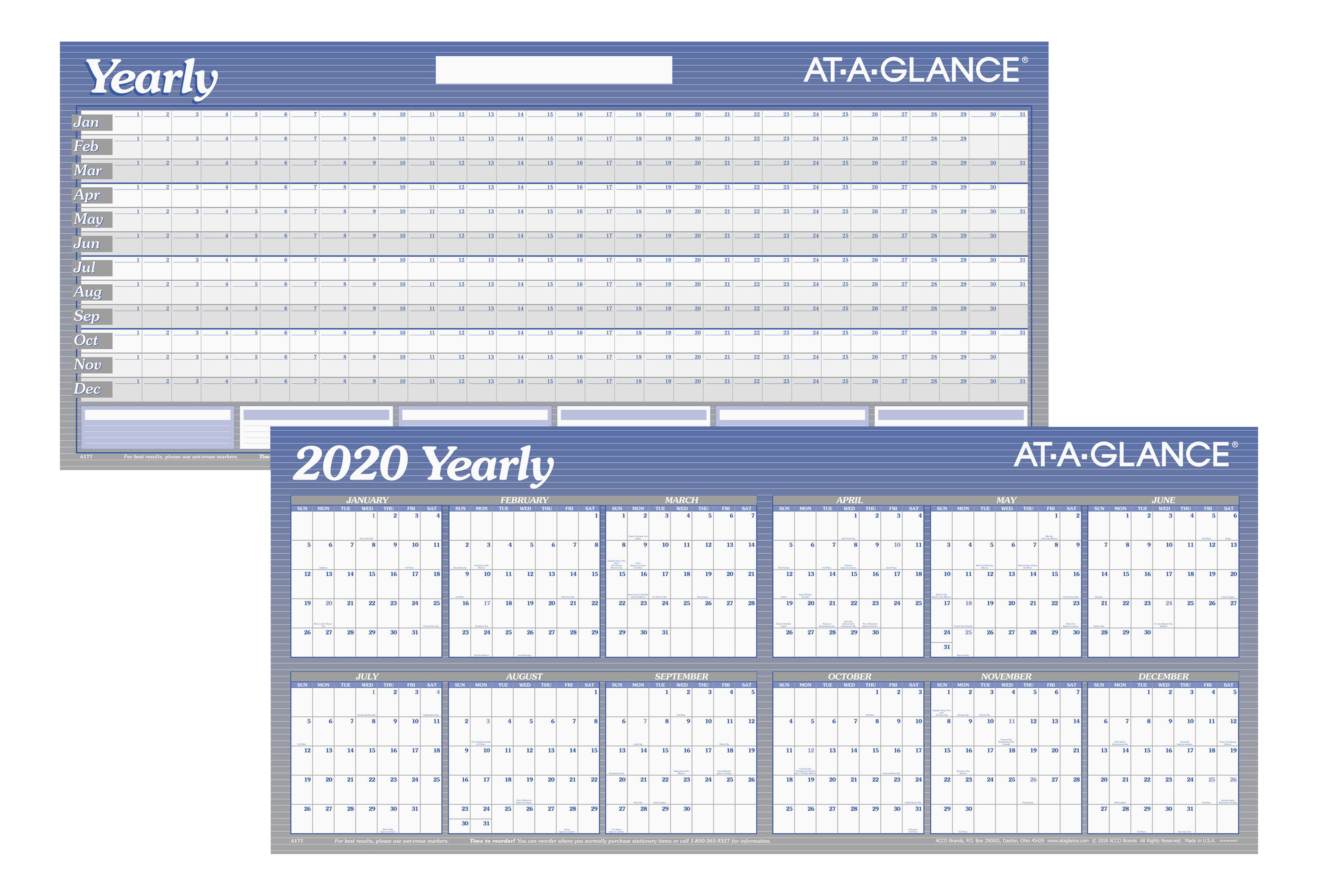 """AT-A-GLANCE® Large Erasable/Reversible Yearly Planner, 26"""" x 60"""", Blue/White, January To December 2020, AAGA177"""