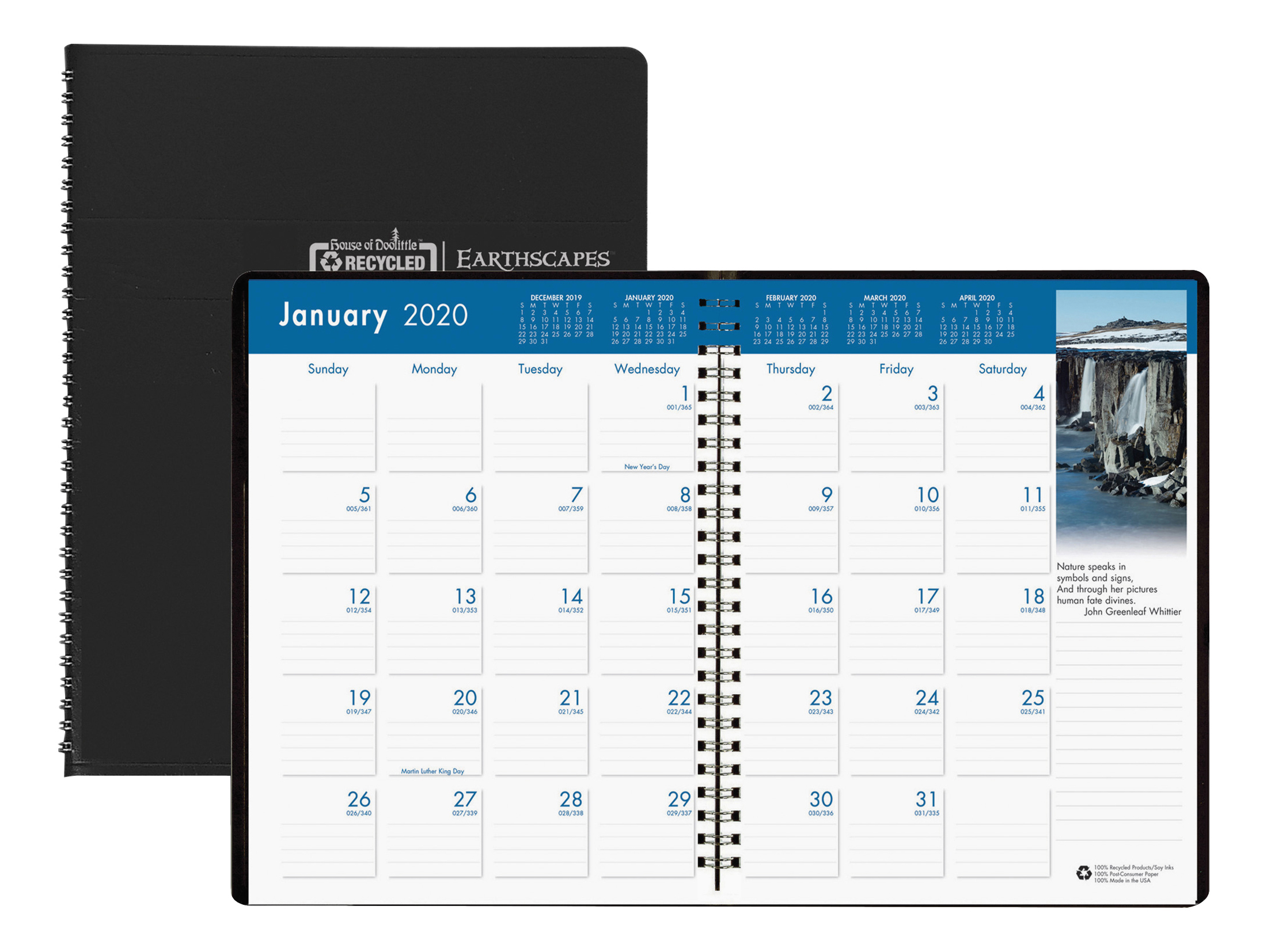 """House of Doolittle Earthscapes Color 14-Month Monthly Planner, 8-1/2"""" x 11"""", 100% Recycled, Black, January To December 2020, HOD264"""