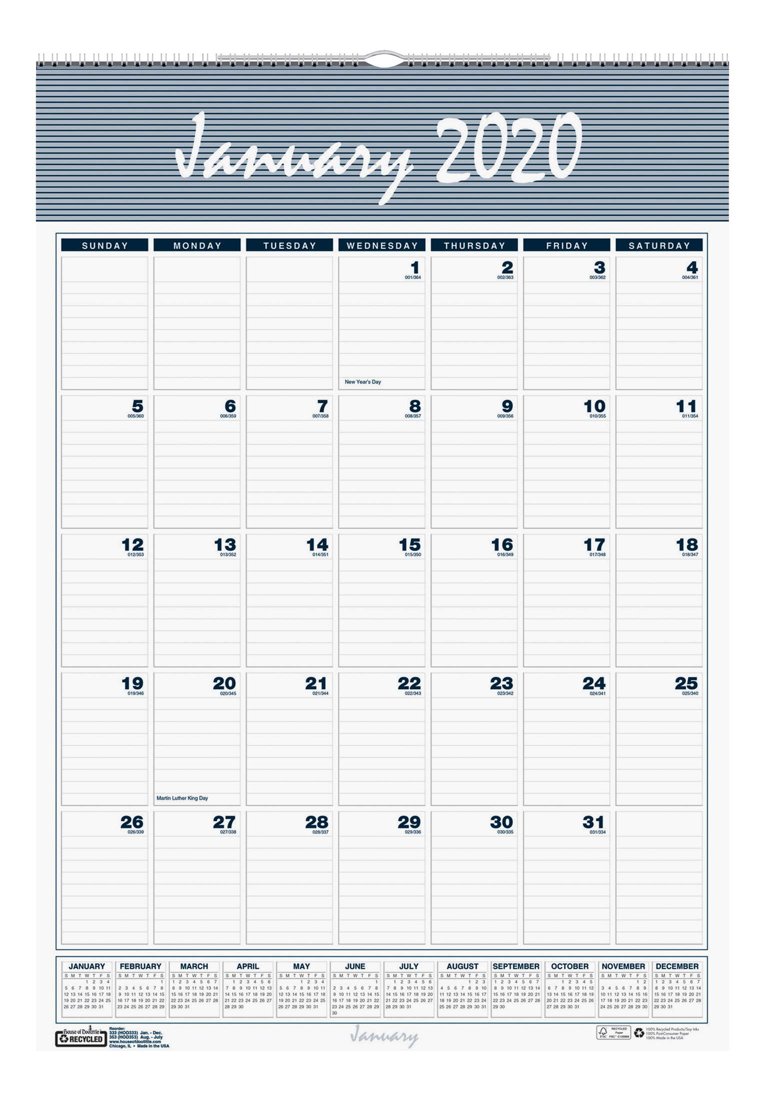 "House of Doolittle Bar Harbor Monthly Wall Calendar, 17"" x 12"", 100% Recycled, Blue/Gray, January To December 2020, HOD3"