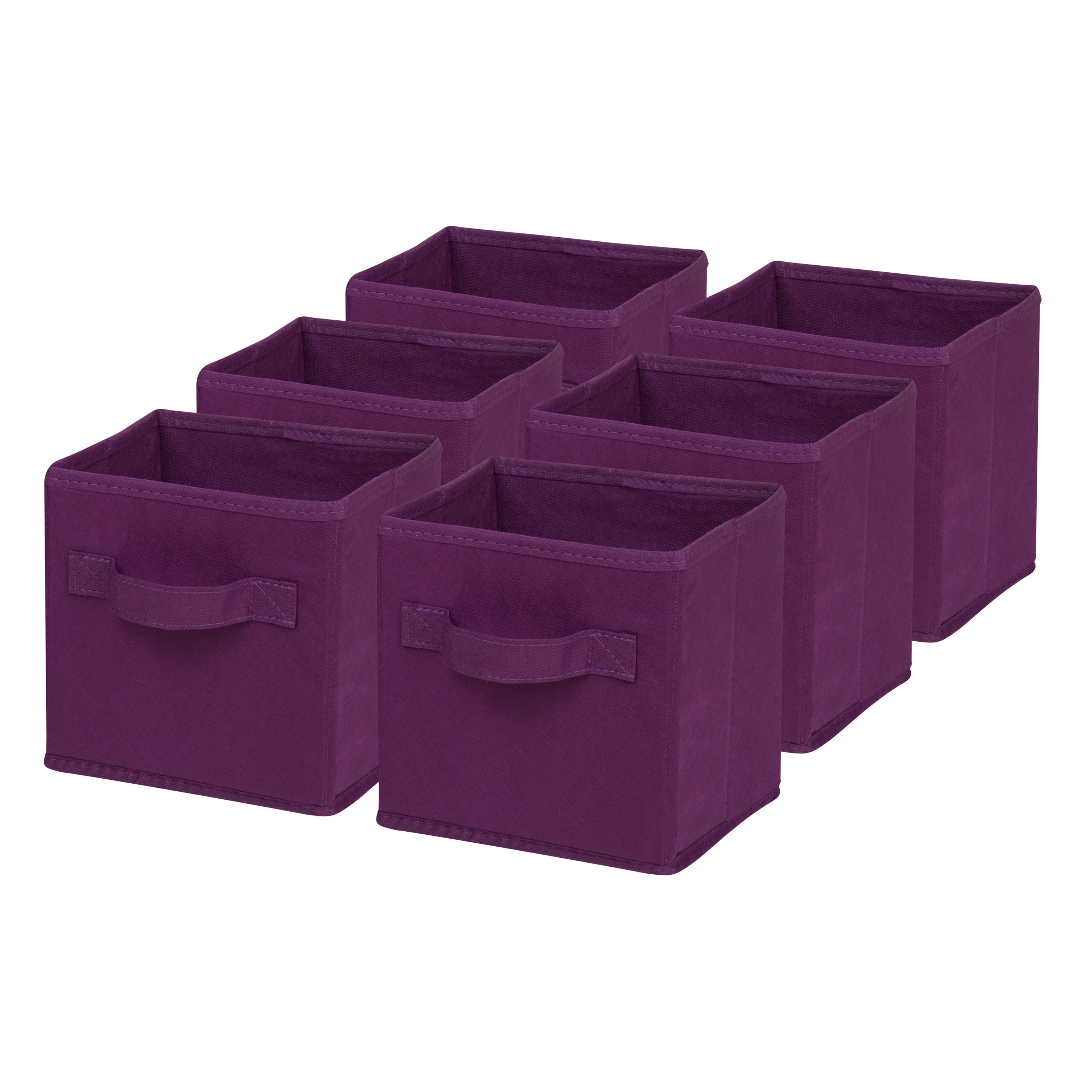 "Honey-Can-Do Mini Non-Woven Foldable Cubes, 7""H x 5 3/4""W x 7""D, Purple, Pack Of 6"
