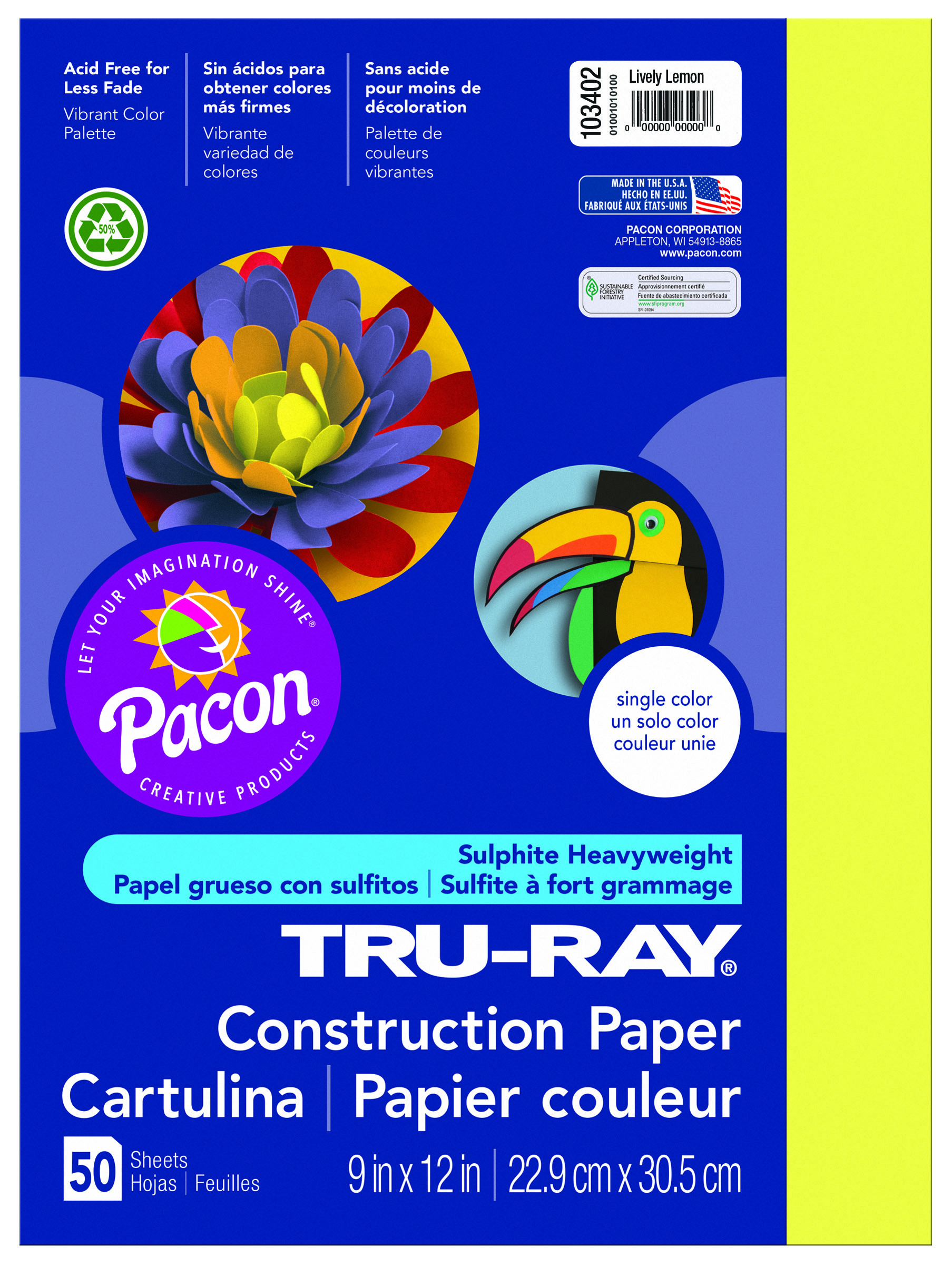 "Tru-Ray® Construction Paper, 9"" x 12"", 50% Recycled, Lively Lemon, Pack Of 50"