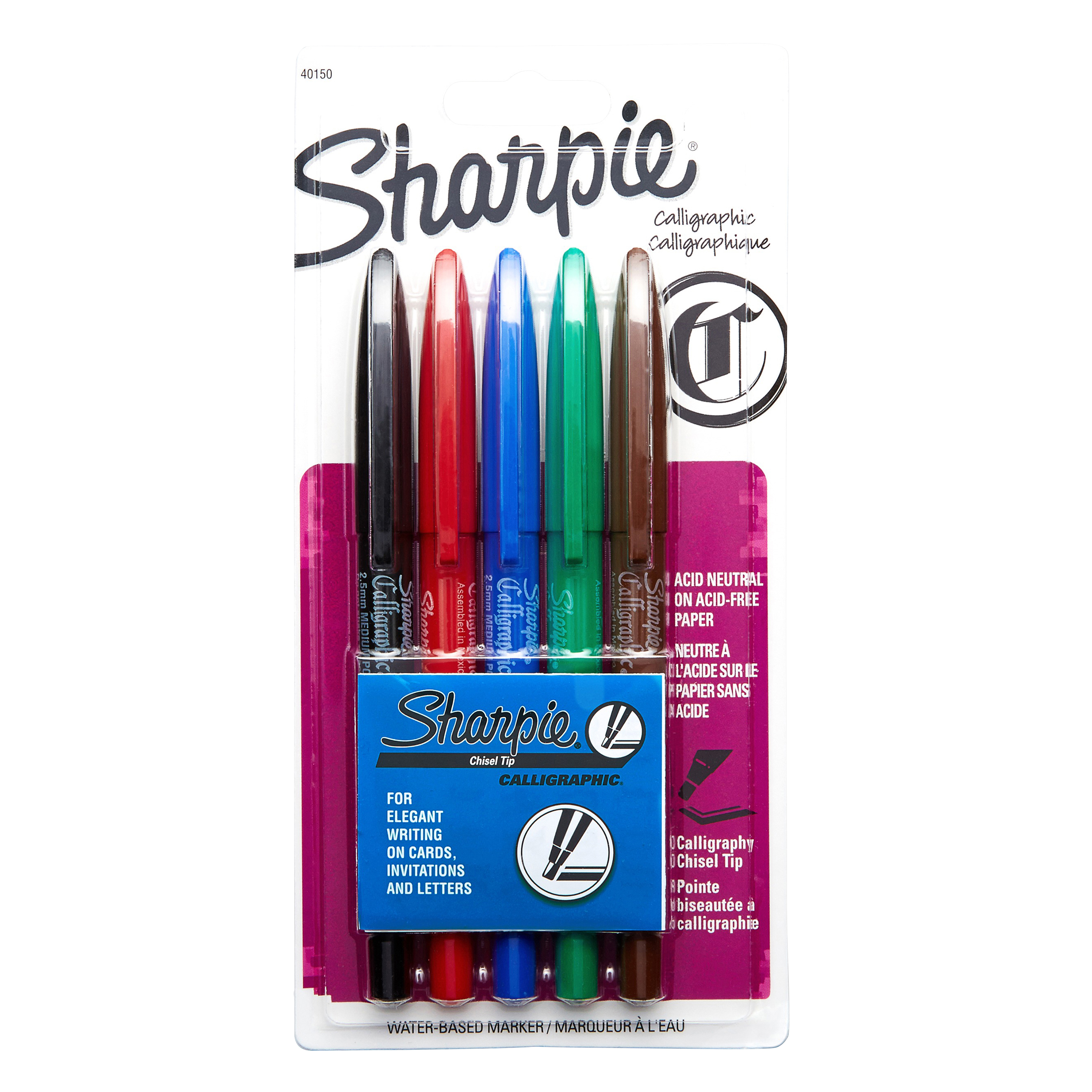Sharpie® Water-Based Ink Calligraphic® Calligraphy Pens, Chisel Point, Assorted Barrels, Assorted Ink Colors, Pack Of 5