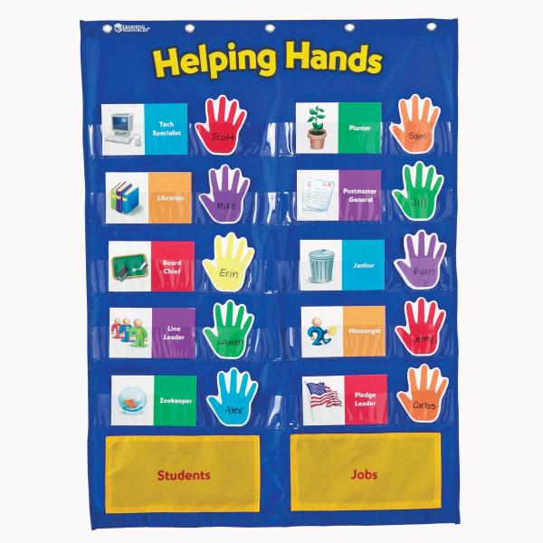 Learning Resources Helping Hands Pocket Chart, 29 1/2  x 22 , Blue/Yellow, Kindergarten - Grade 3