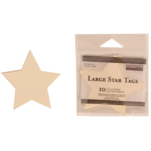 JAM Paper Gift Tags, 3  x 2 3/4 , Ivory Star, Pack Of 10