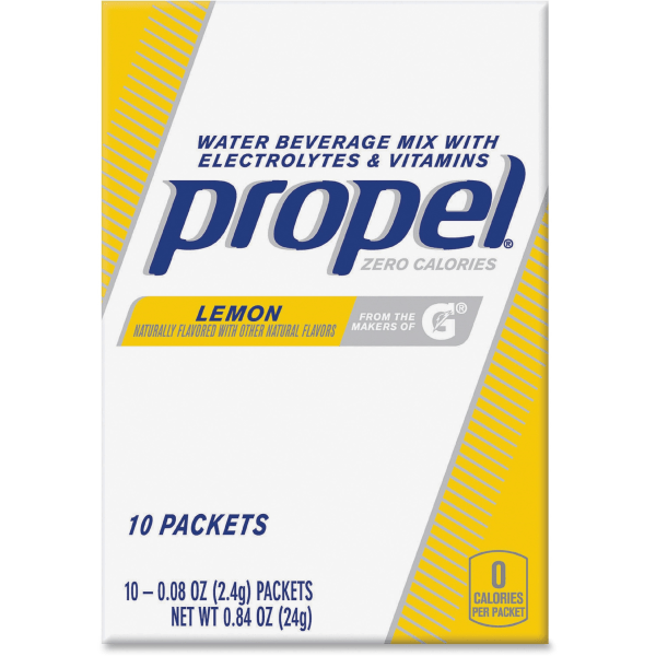Propel Water Beverage Mix Packets with Electrolytes and Vitamins - Powder - Lemon Flavor - 0.08 oz - 120 / Carton