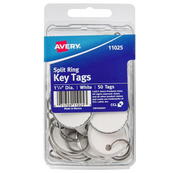 Avery Round Metal Rim Key Tags, 1 1/4  Diameter, White, Pack Of 50