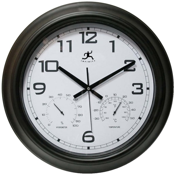Infinity Instruments Round Wall Clock With Hygrometer/Thermometer, 18 , Black/White