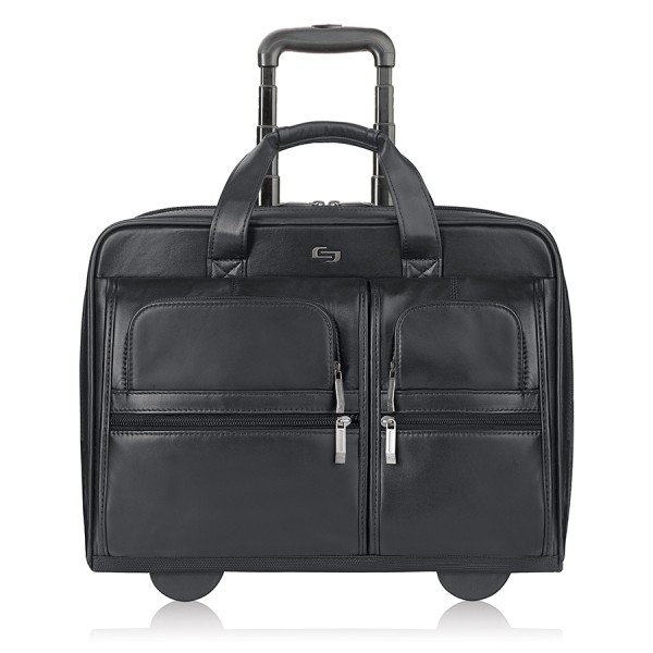 Solo Franklin Leather Rolling Case For 15.6  Laptops, Black