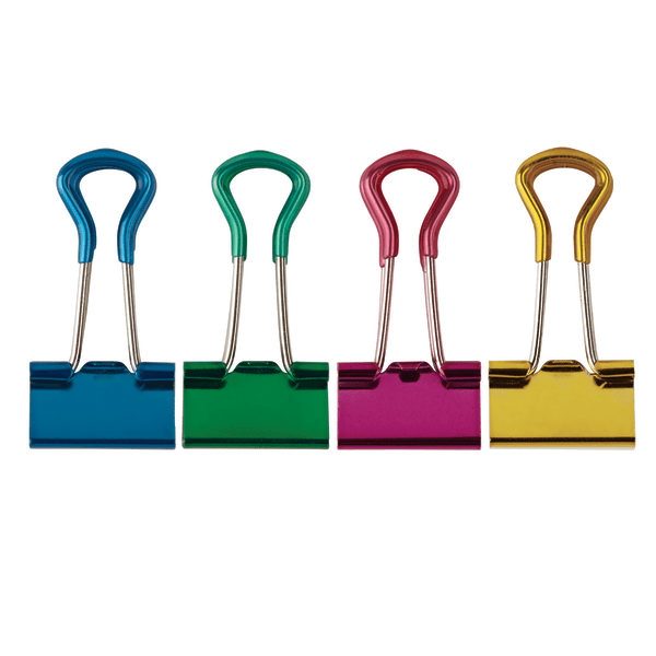 OfficeMax Grip Binder Clips 1 Capacity Large Pack of 6 Assorted Colors