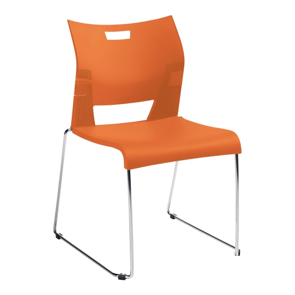 Global Duet Stacking Chairs, With Arms, 32 1/4 H x 20 1/2 W x 22 1/2 D, Tiger Orange, Pack Of 4