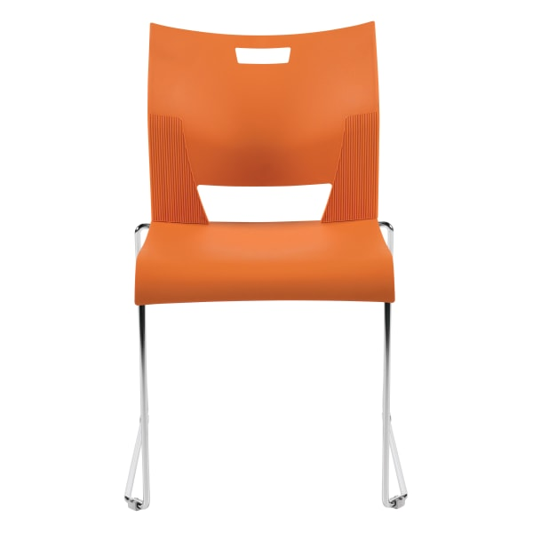 Global Duet Stacking Chairs, Armless, 32 1/4 H x 20 1/2 W x 22 1/2 D, Tiger Orange, Pack Of 4