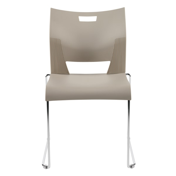 Global Duet Stacking Chairs, Armless, 32 1/4 H x 20 1/2 W x 22 1/2 D, Latte Beige, Pack Of 4