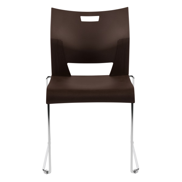 Global Duet Stacking Chairs, Armless, 32 1/4 H x 20 1/2 W x 22 1/2 D, Coffee Bean, Pack Of 4