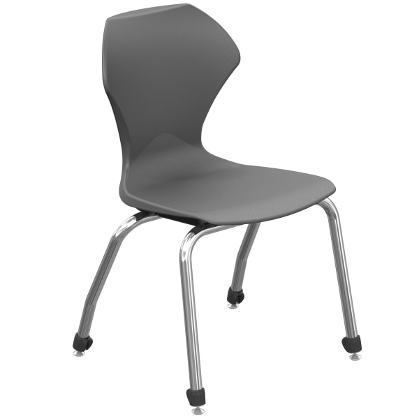 Marco Group Apex Series Stacking Chairs, 16-Inch, Charcoal/Chrome, Set Of 4